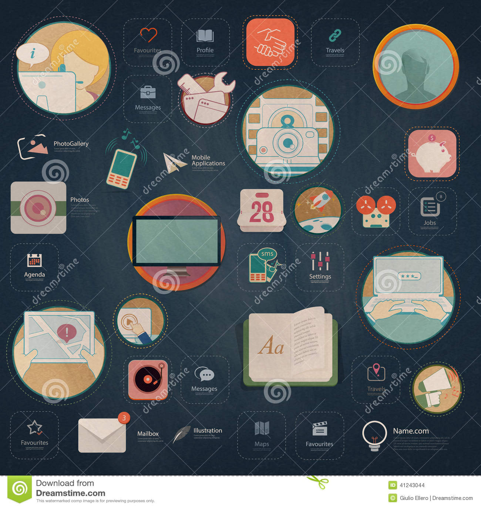 Elementos de Infographics: Colección de elementos planos coloridos de la navegación del equipo UI con los iconos para el sitio we