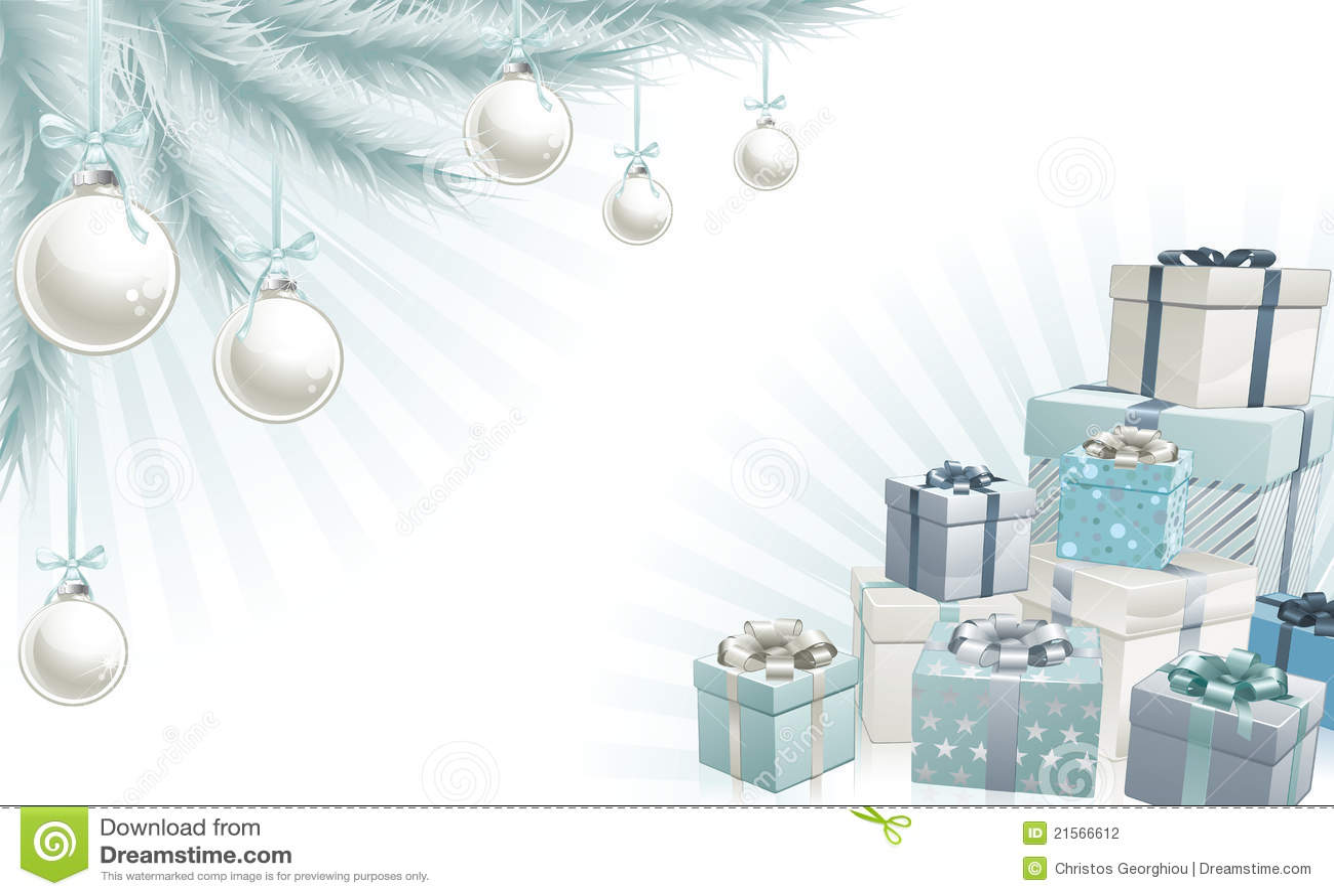 Elementos de la esquina azules de plata de la Navidad