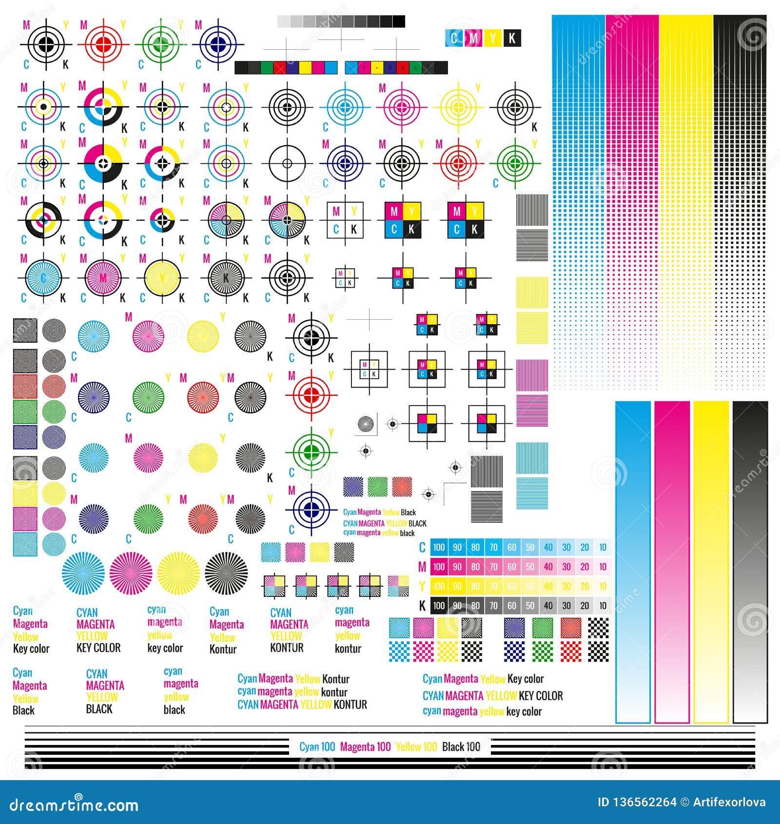 Elementos de la gestión de color de CMYK Utilidades de publicación del símbolo gráfico Marca de la prensa La calibración, corte m