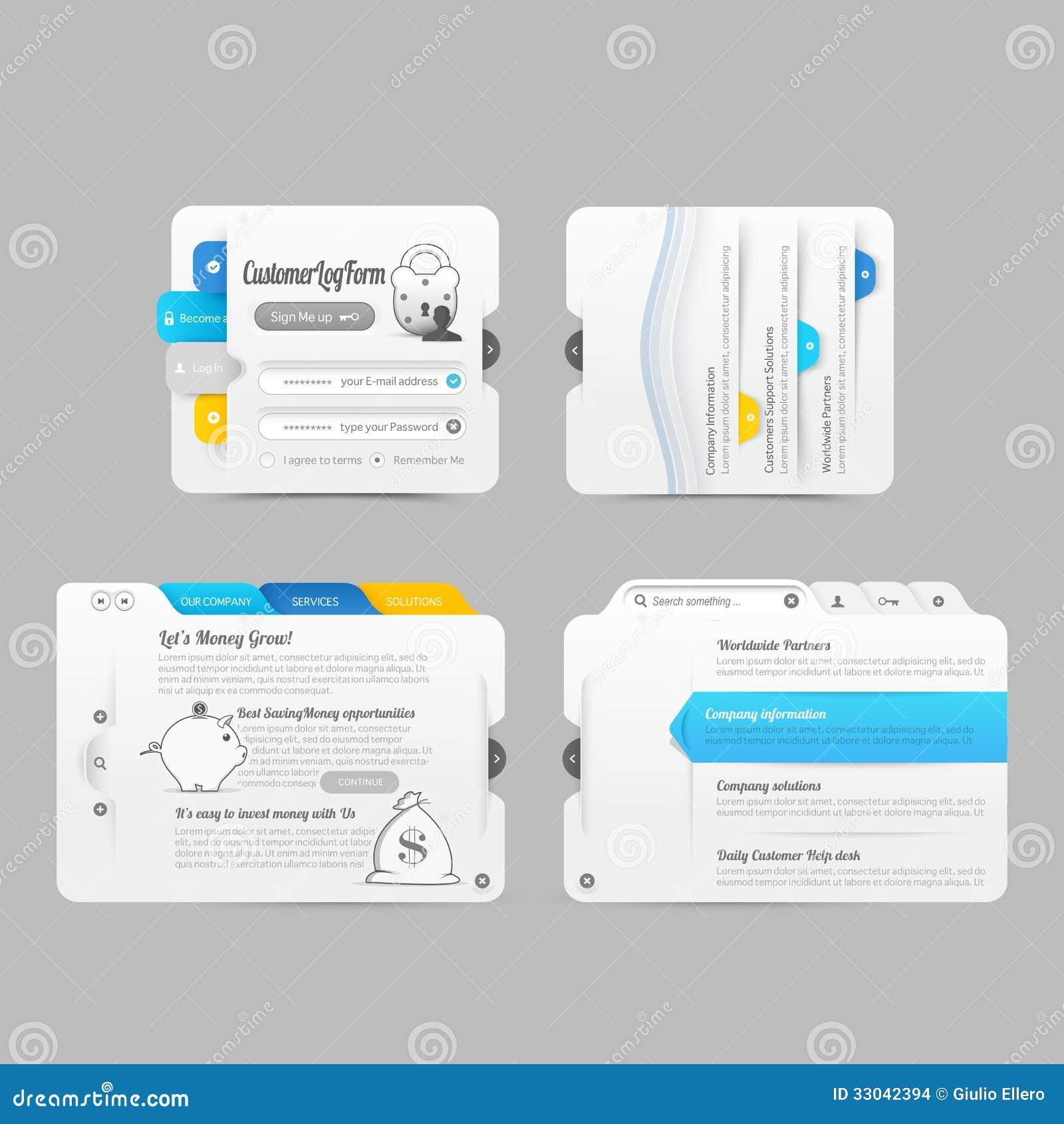 Elementos de la navegación del menú del diseño de la plantilla del Web site del negocio con los iconos fijados