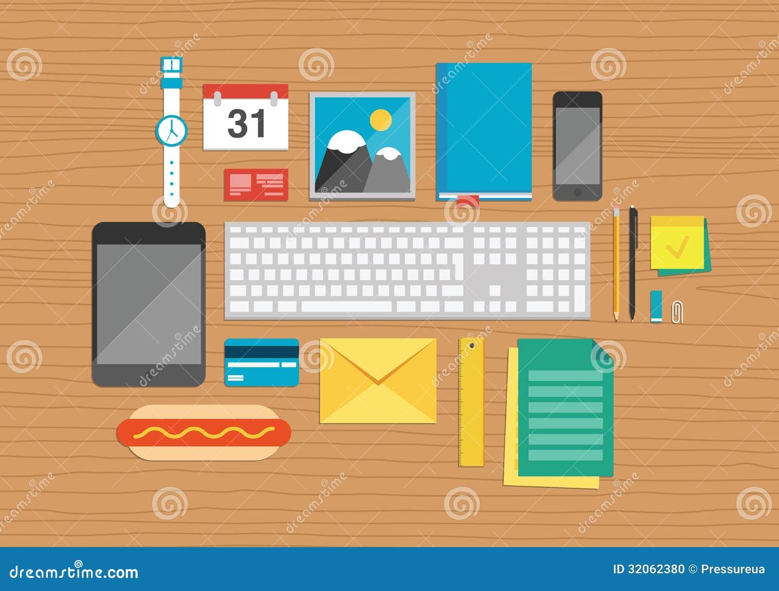 Elementos de la oficina en el ejemplo de escritorio foto for Elementos para oficina