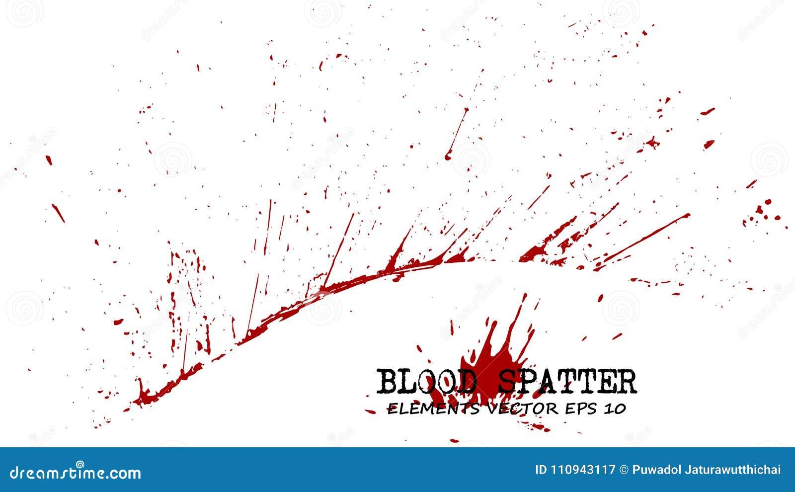 Elementos de la salpicadura de la sangre en el fondo blanco Concepto criminal Vector