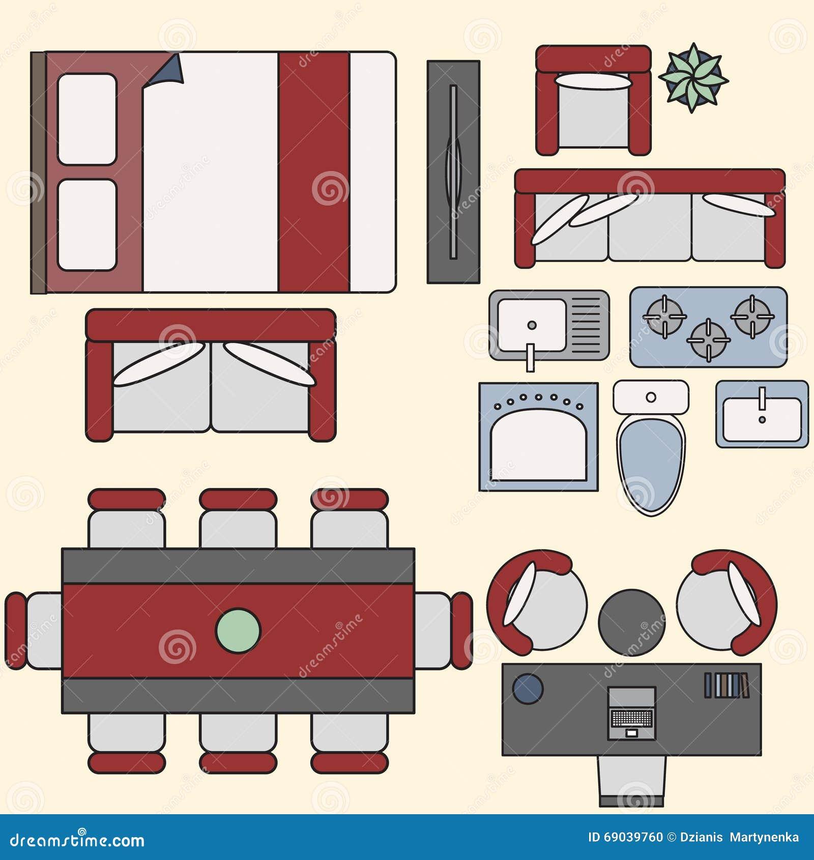 Elementos De Los Muebles En La Visión Superior Ilustración del ...