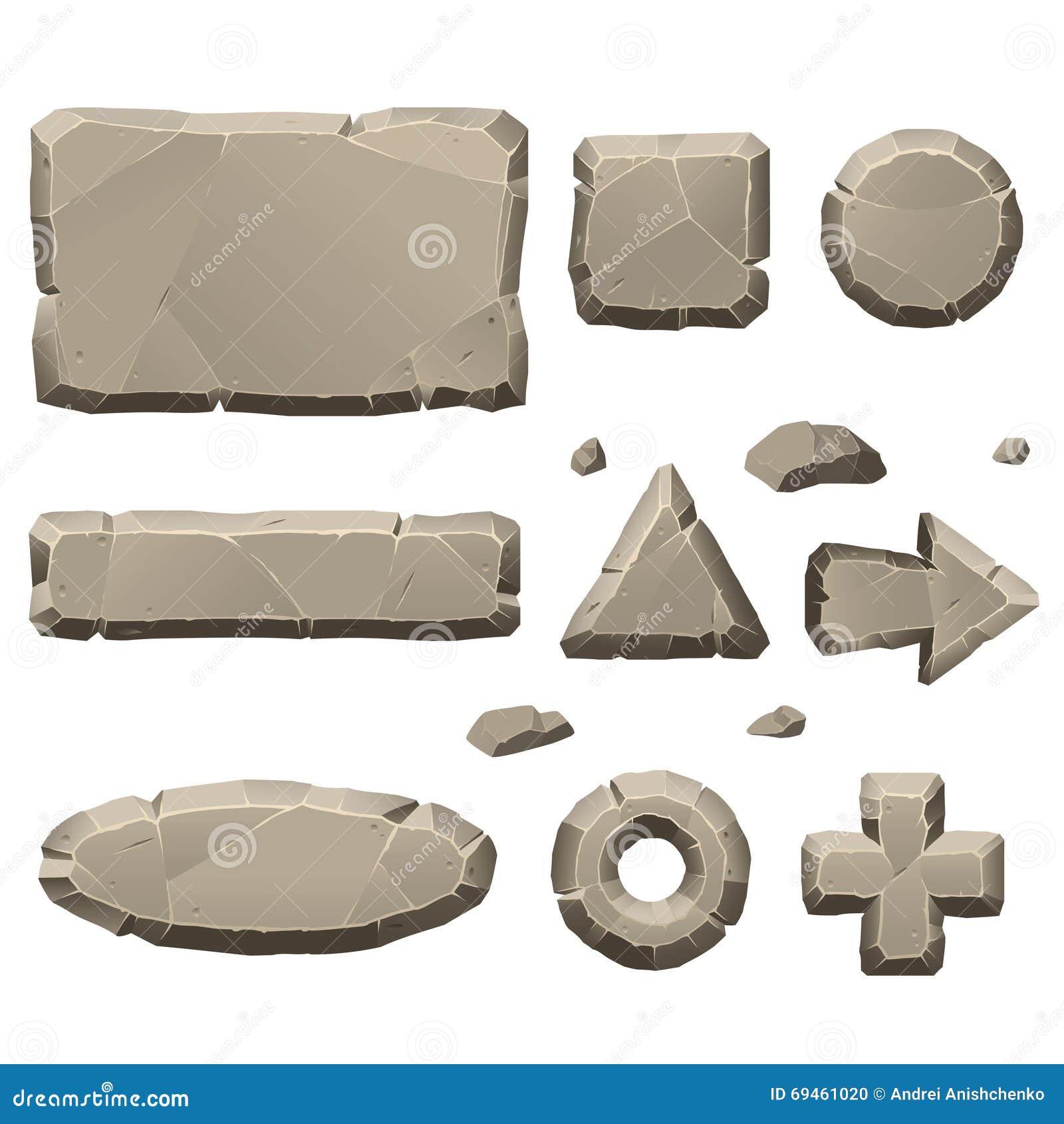 Elementos de pedra do projeto de jogo