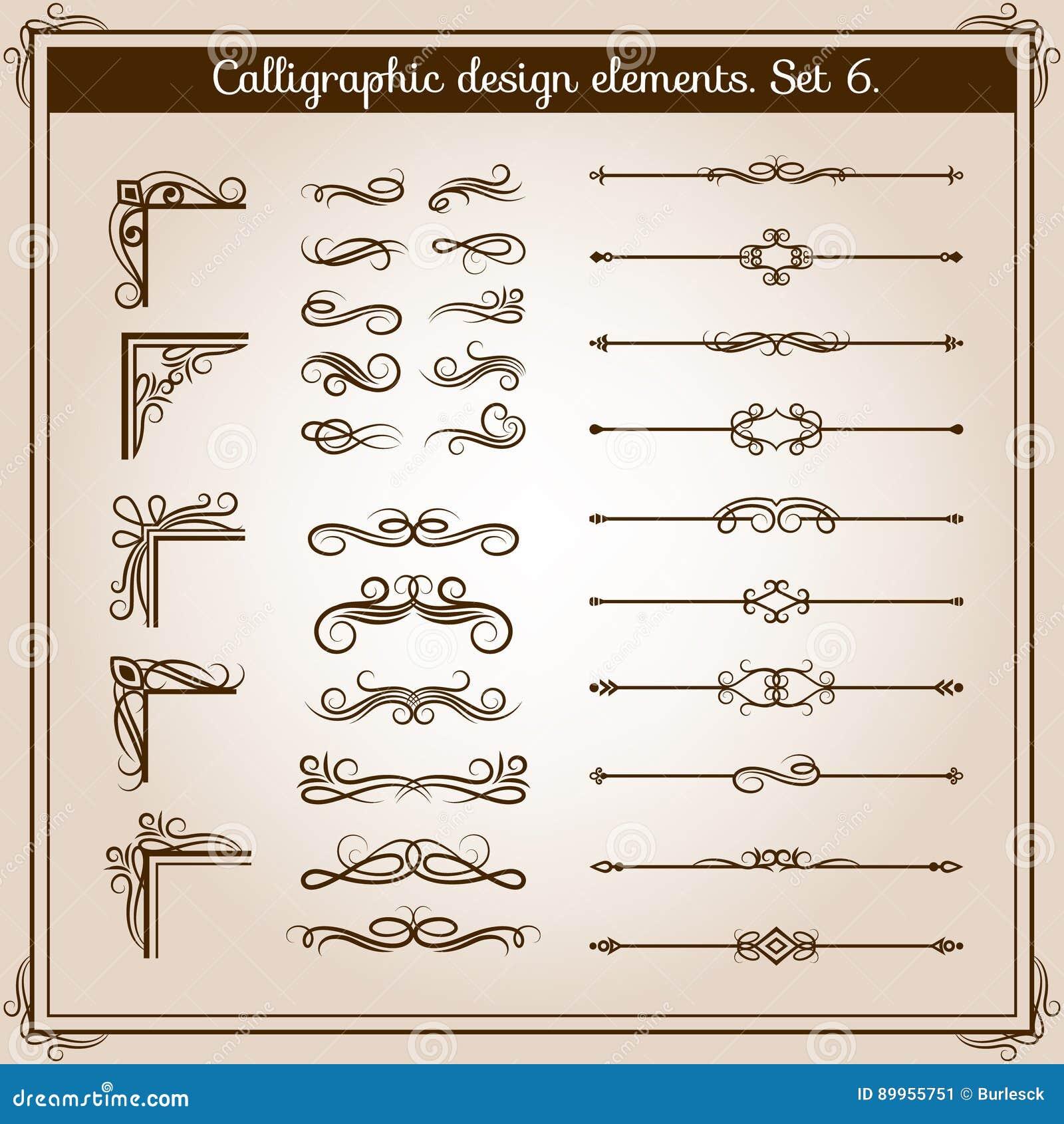 Elementos decorativos adornados del vector linear del vintage Línea retra divisores, esquinas y remolinos del flourish para la de
