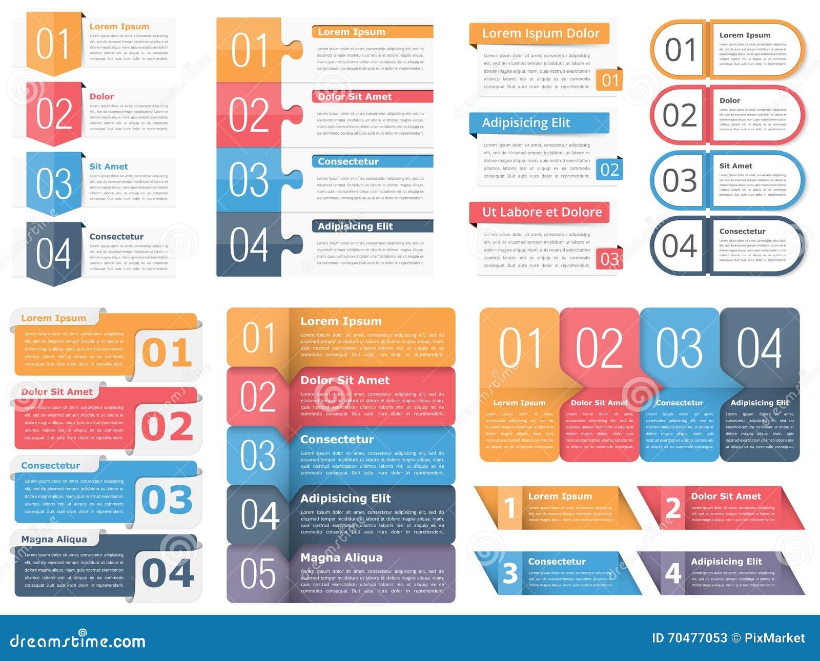 Elementos del diseño con números y texto