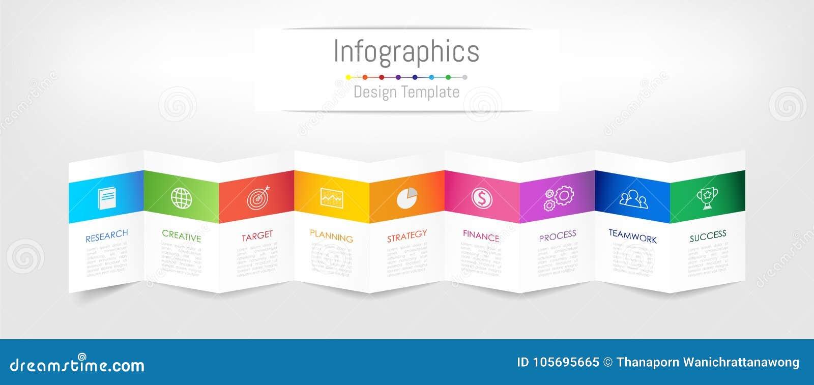 Elementos del diseño de Infographic para sus datos de negocio con 9 opciones