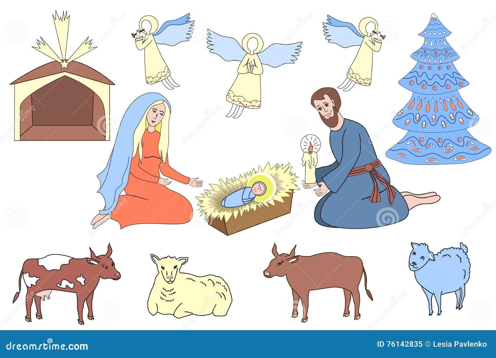 Elementos del diseño de la escena nativa Familia, ángeles, y animales del santo