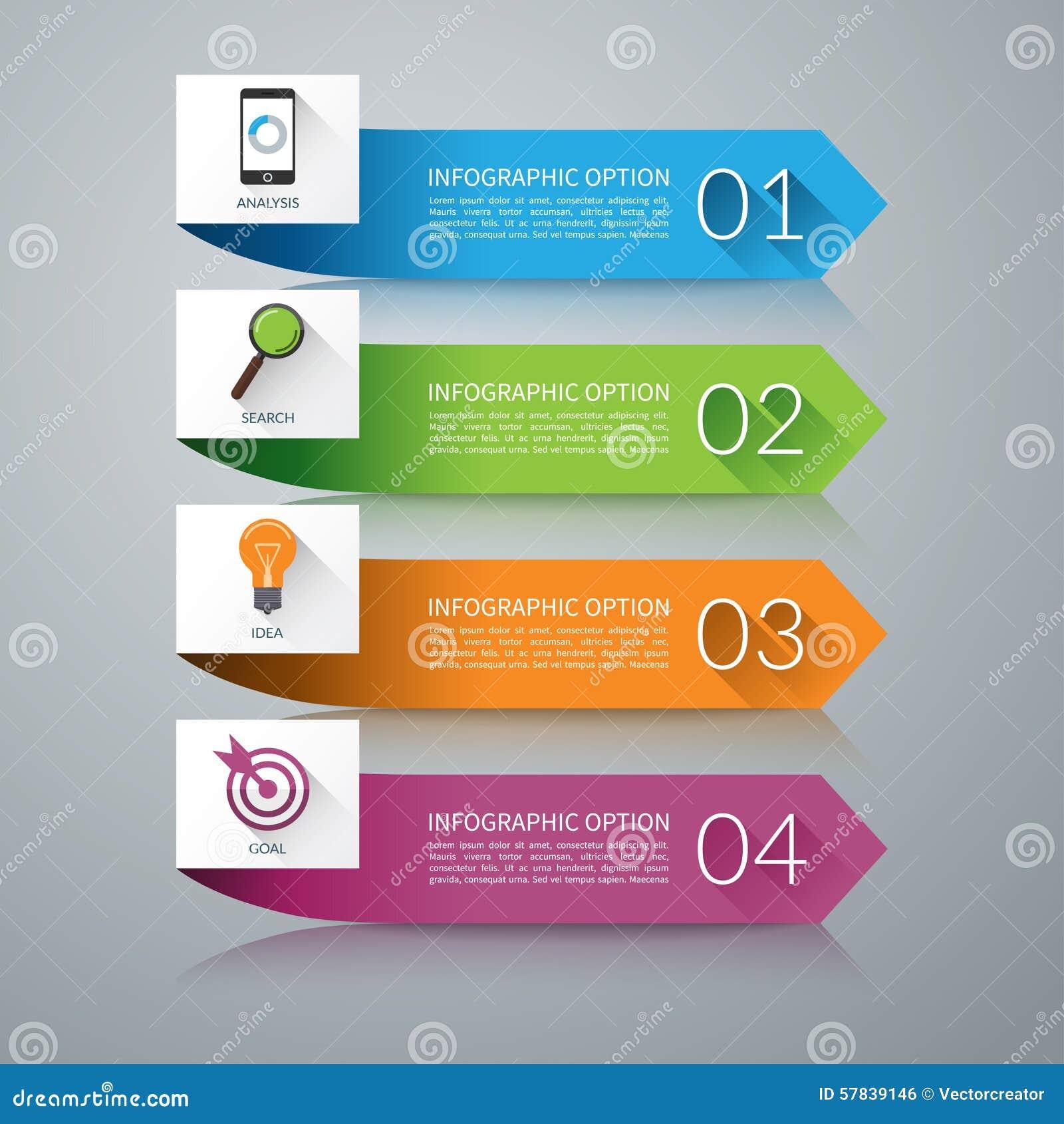 Elementos del diseño de la flecha para el infographics concepto del negocio de 4 pasos Fondo del vector