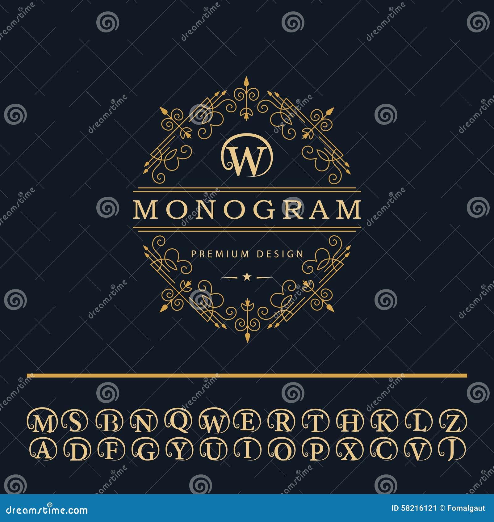 Elementos Del Diseño Del Monograma Emblema Inglés De Las Letras