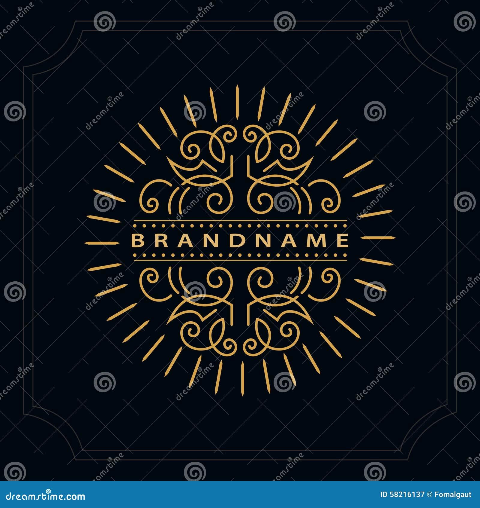 Elementos del diseño del monograma, plantilla agraciada