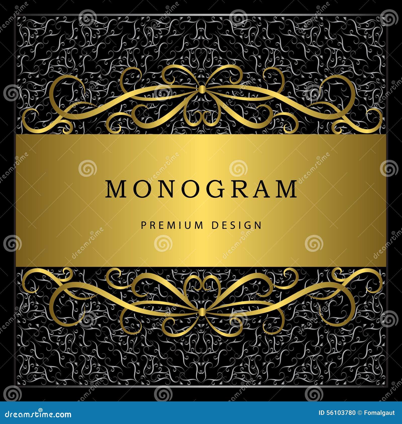 Elementos del diseño del monograma, plantilla agraciada Línea elegante caligráfica diseño del logotipo del arte Marco del oro con