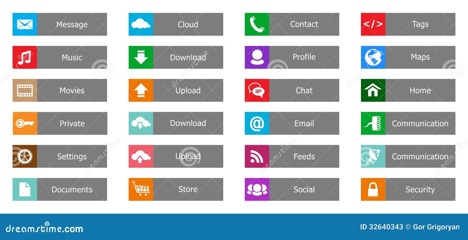 Elementos Del Diseño Web, Botones, Iconos. Plantillas Para El Web ...