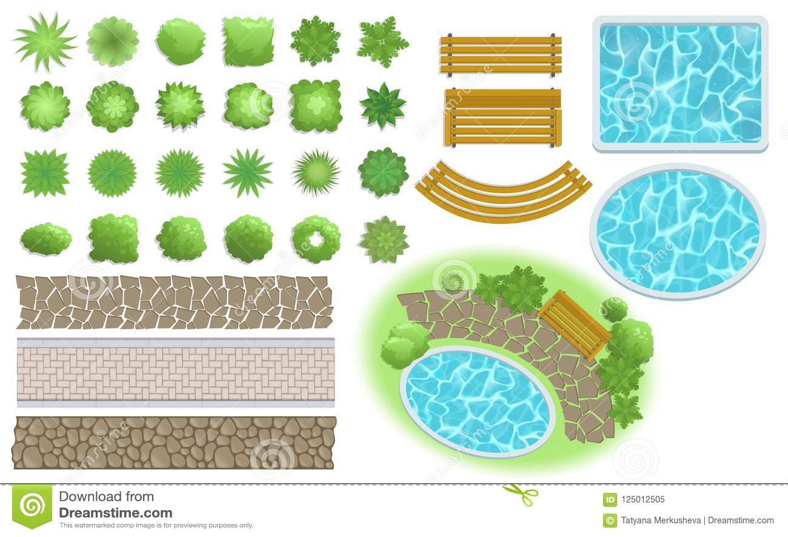 Elementos del diseño y del jardín del paisaje El sendero, banco, piscina, planta la visión superior Ajardinar el sistema de símbo