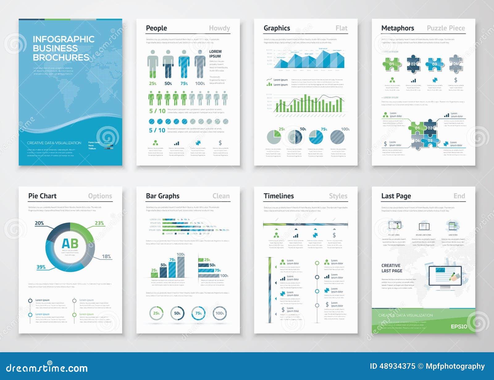 Elementos del folleto de Infographics para la visualización de los datos de negocio