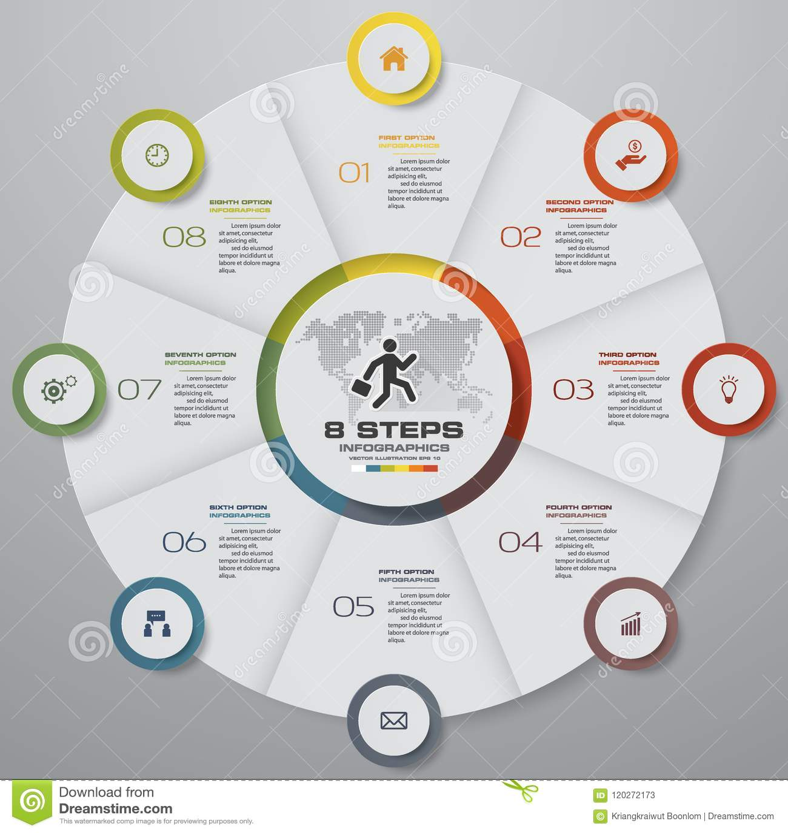Elementos del infographics del gráfico de sectores de los pasos del extracto 8 Ilustración del vector