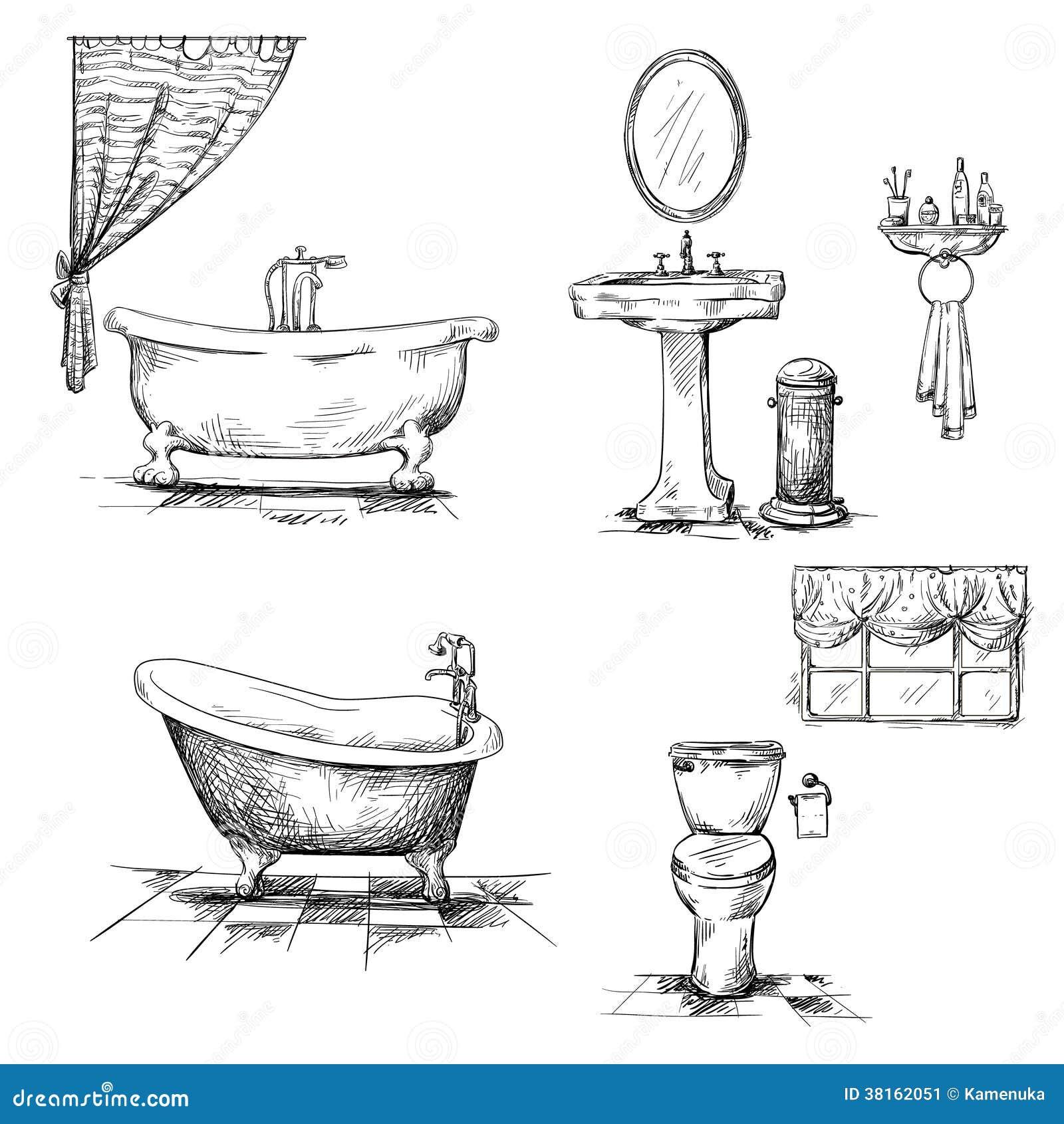 Elementos del interior del cuarto de ba o mano dibujada for Elementos del bano