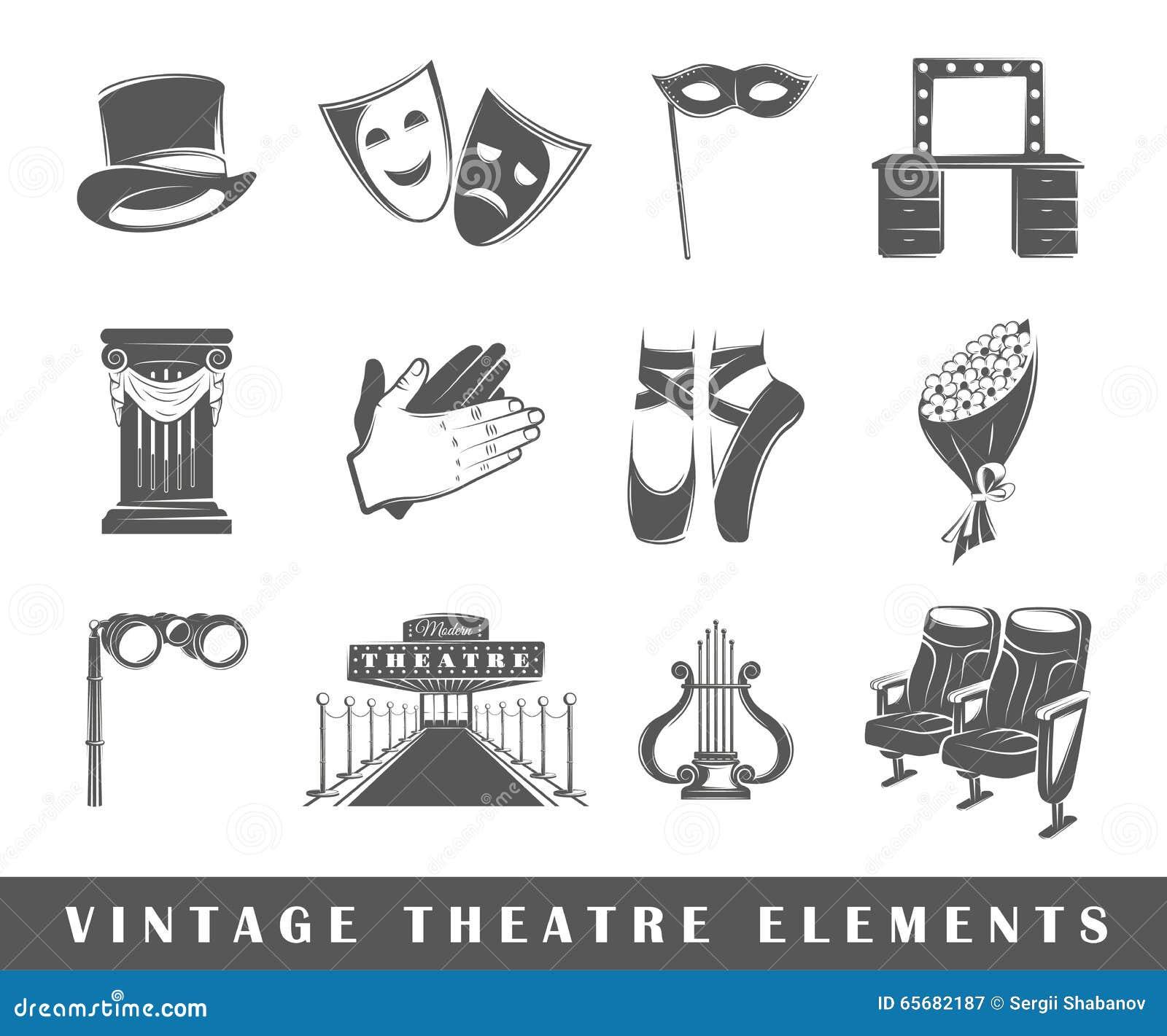 elementos del teatro del vintage ilustraci n del vector imagen 65682187. Black Bedroom Furniture Sets. Home Design Ideas