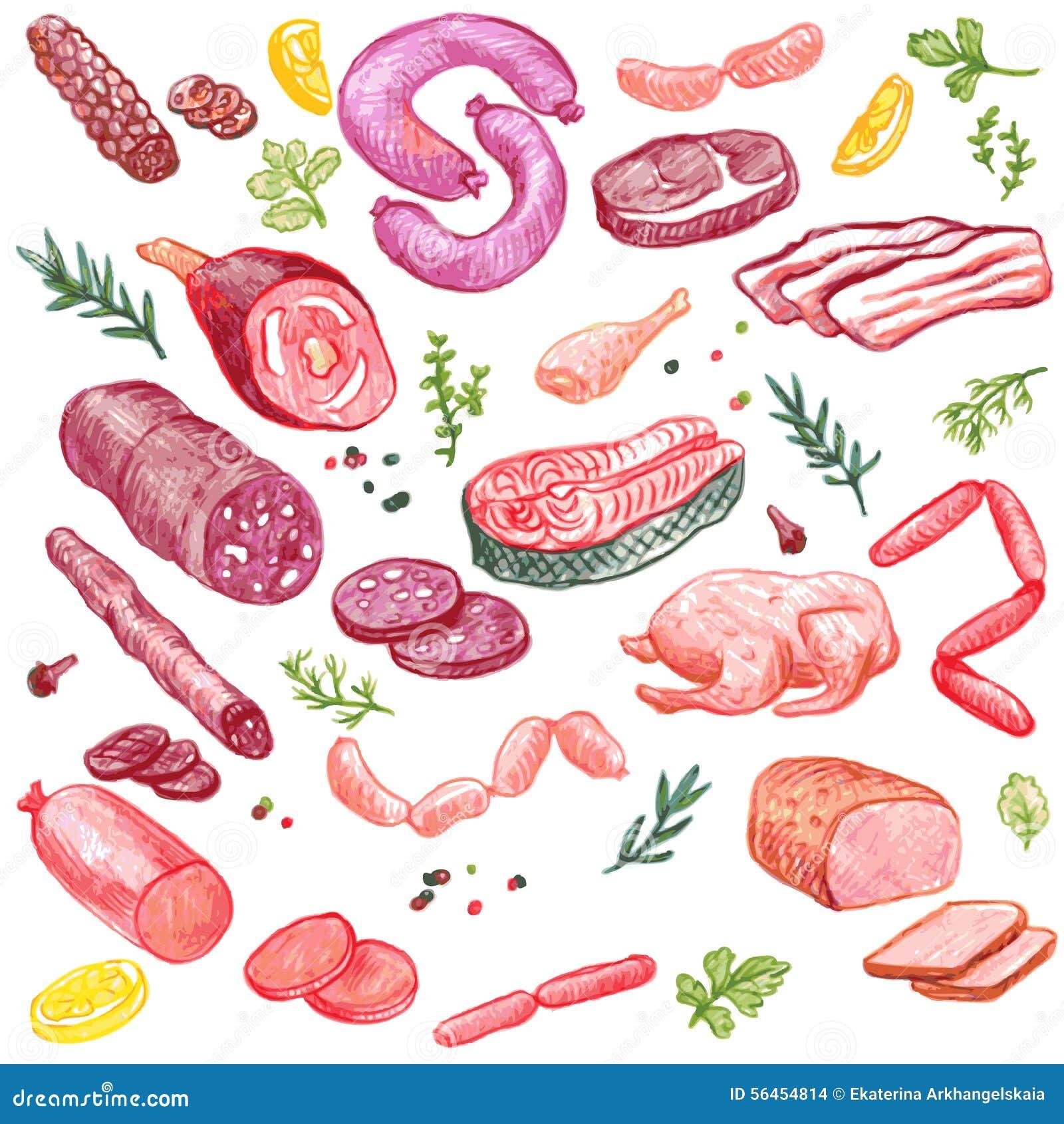 Elementos Del Vector De La Carne Ilustración Del Vector