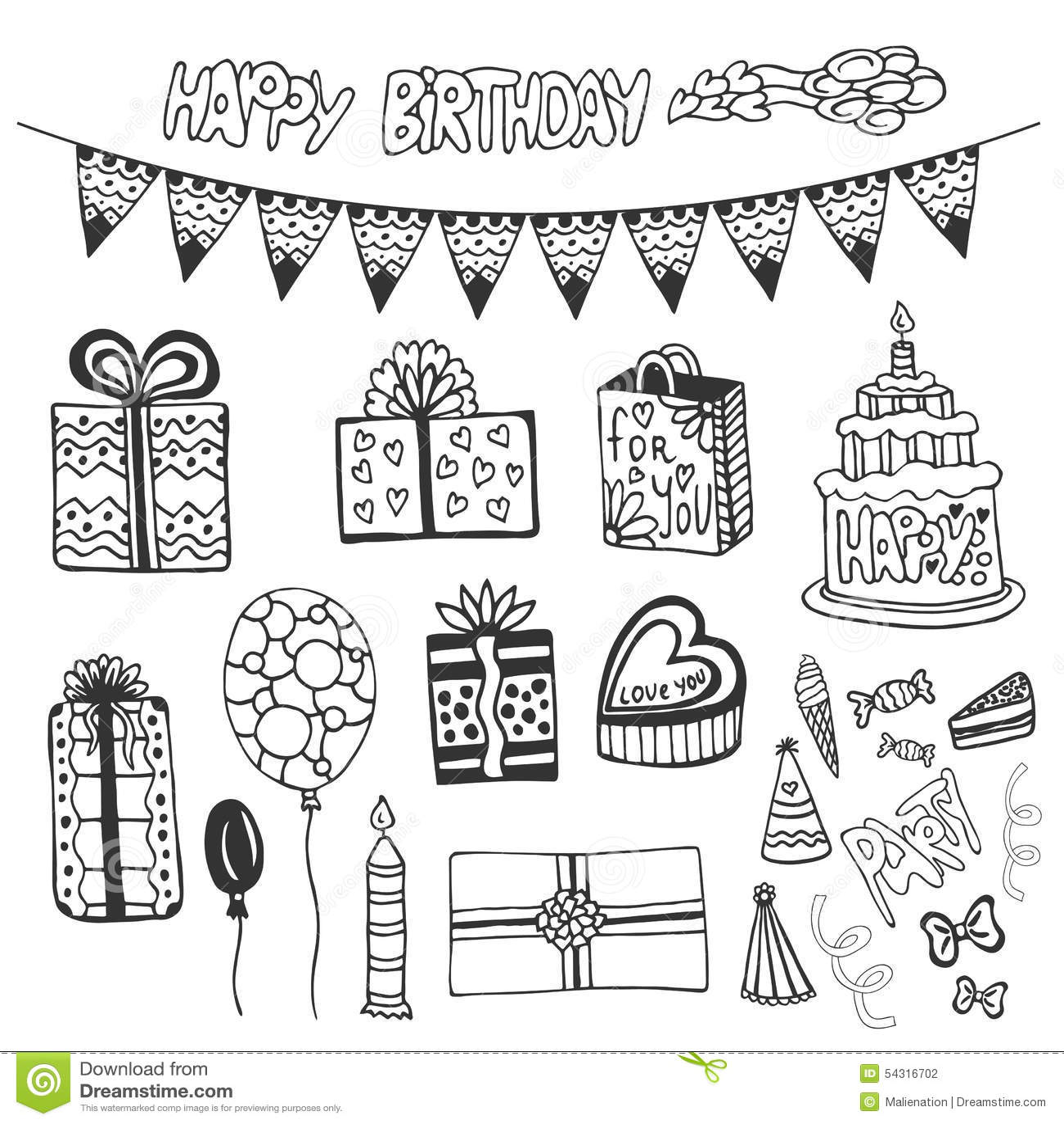 Elementos dibujados mano del cumpleaños El garabato fijó con las tortas de cumpleaños, la caja de regalo, los globos y otro los e
