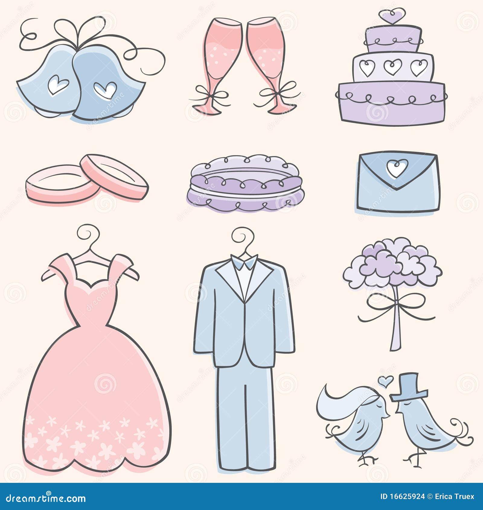 Elementos do casamento do Doodle