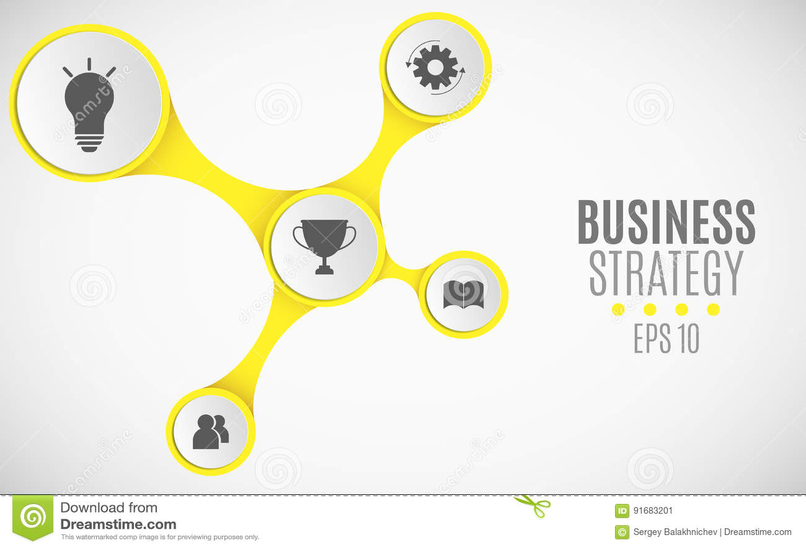 Elementos do infographics para projetos do negócio Carta de papel amarela Grandes, bandeiras de papel com ícones para a Web Illus