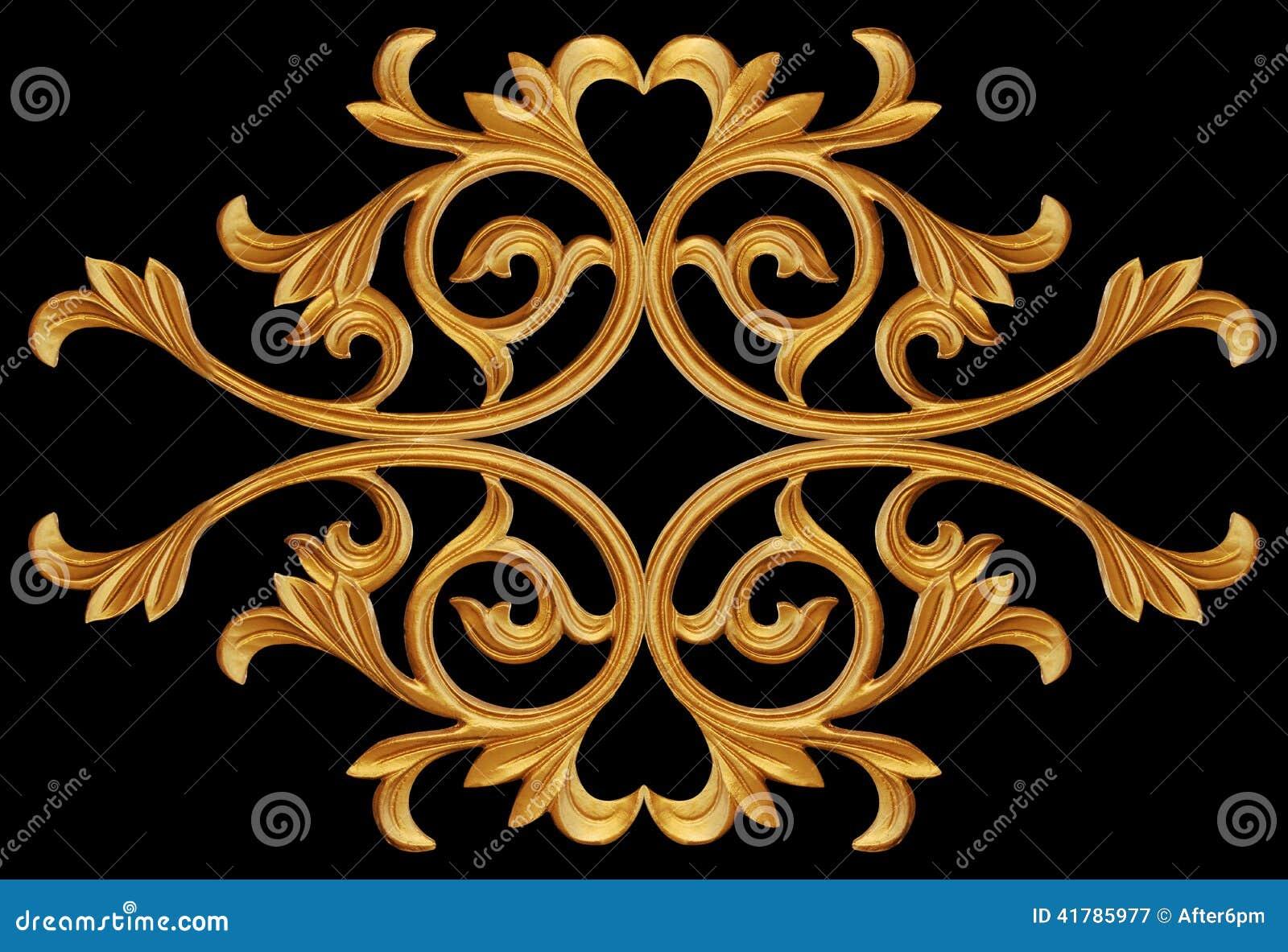 Elementos do ornamento, designs florais do ouro do vintage