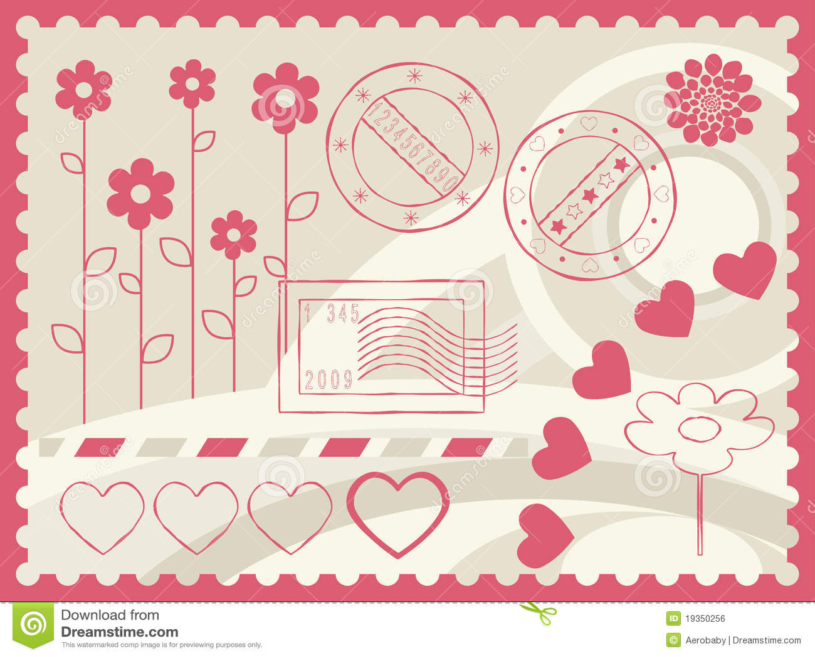 Elementos do porte postal e da decoração.