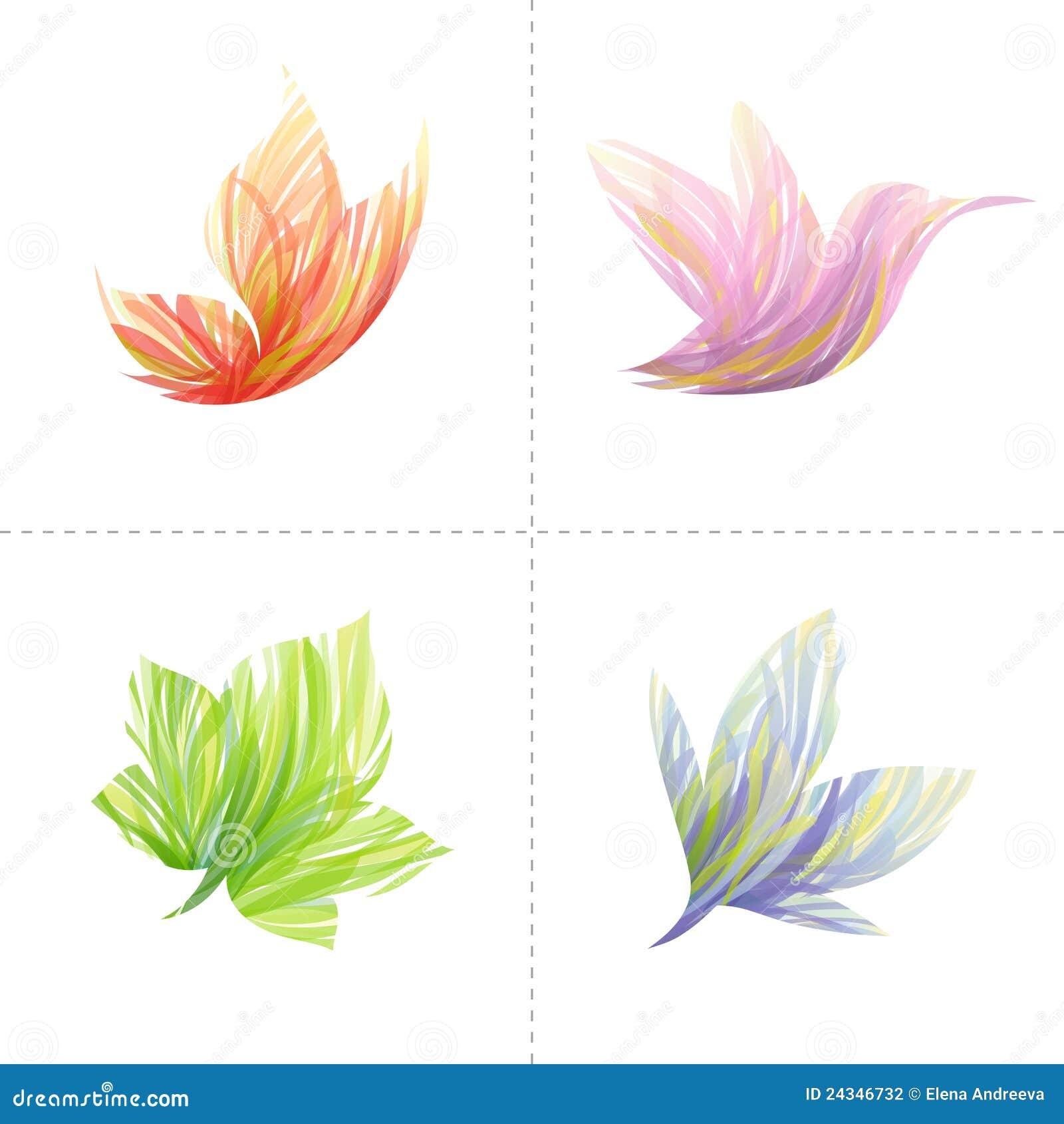 Elementos do projeto: borboleta, colibri, folha, flo