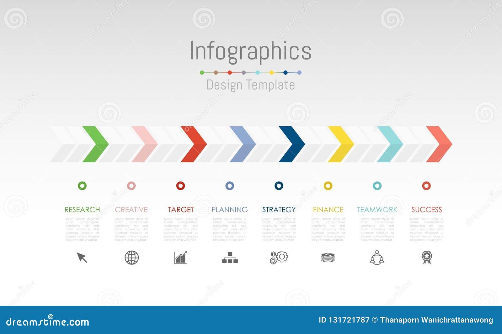 Elementos do projeto de Infographic para seus dados comerciais com 8 opções, porções, etapas, espaços temporais ou processos Veto