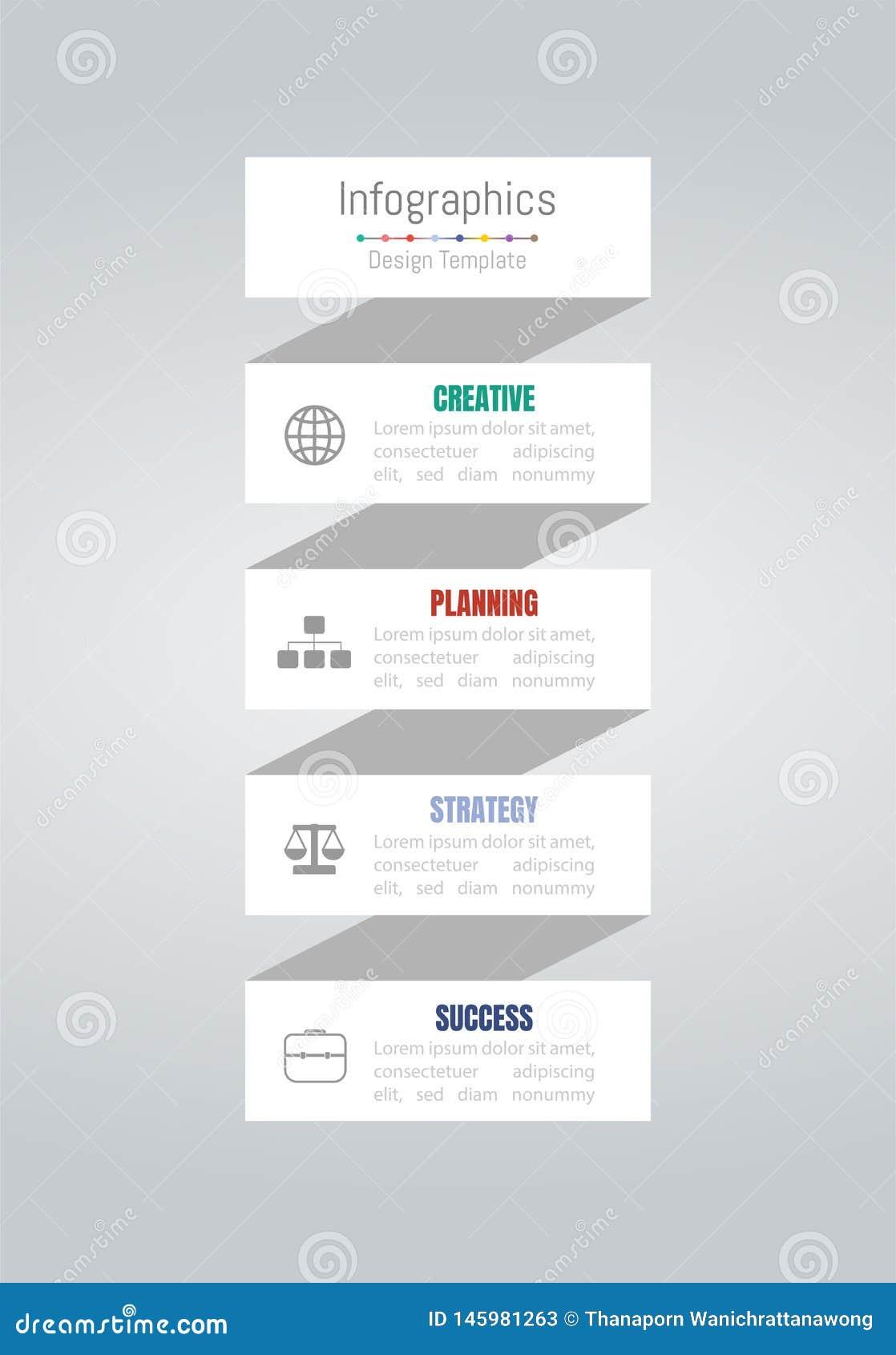 Elementos do projeto de Infographic para seus dados comerciais com 4 op??es, por??es, etapas, espa?os temporais ou processos Veto