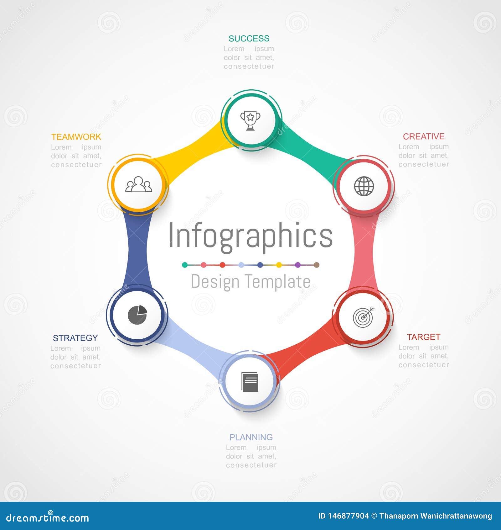 Elementos do projeto de Infographic para seus dados comerciais com 6 op??es, por??es, etapas, espa?os temporais ou processos Veto