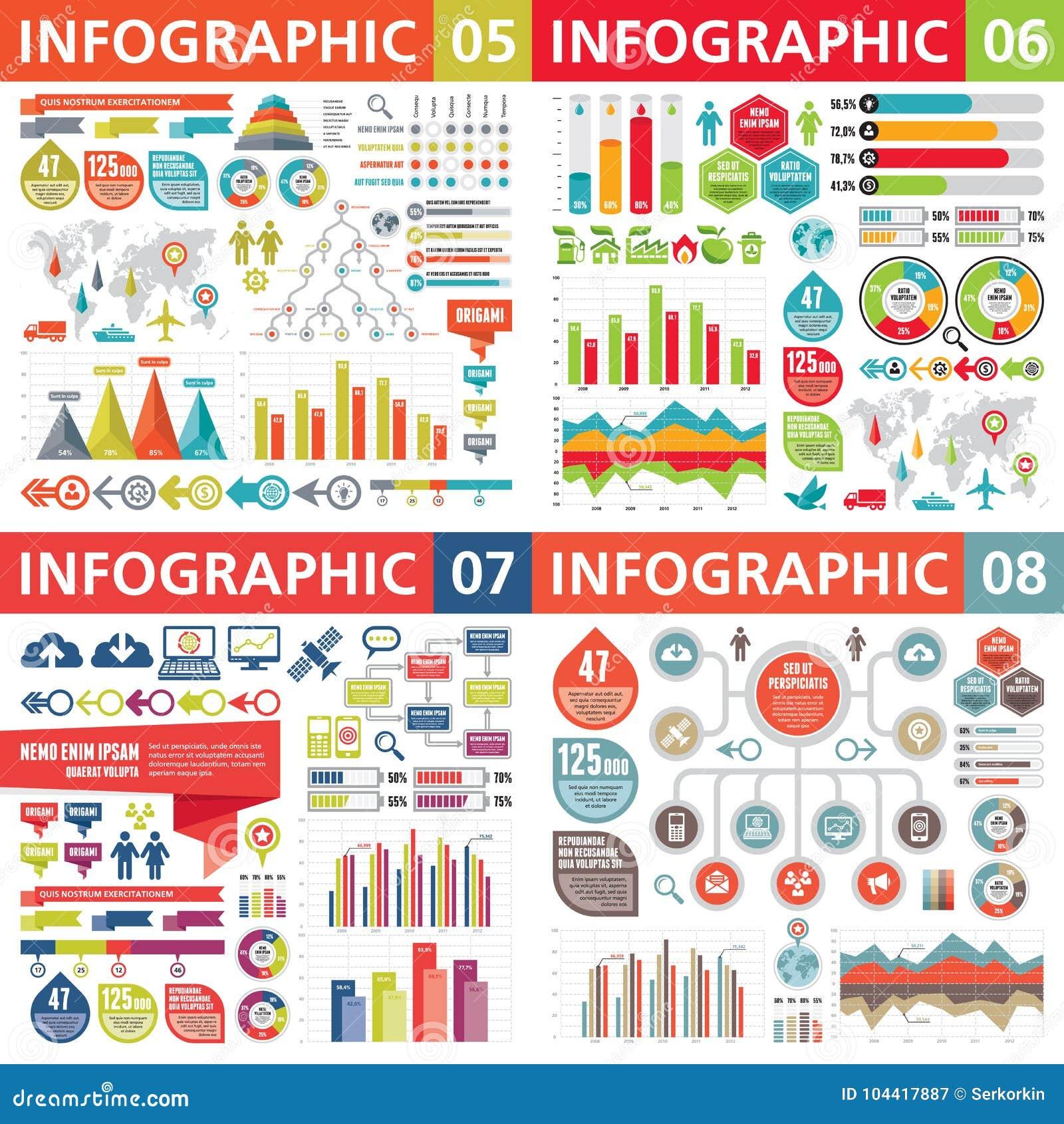 Elementos do projeto de negócio de Infographic - ilustração do vetor Coleção do molde de Infograph Grupo criativo do gráfico