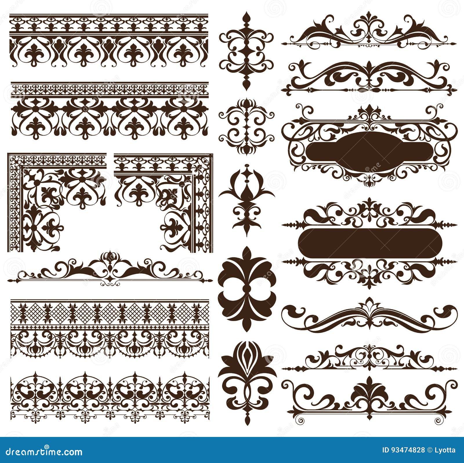 Elementos do projeto do art deco de cantos dos ornamento e das beiras do vintage dos elementos simples isolados quadro dos flouri