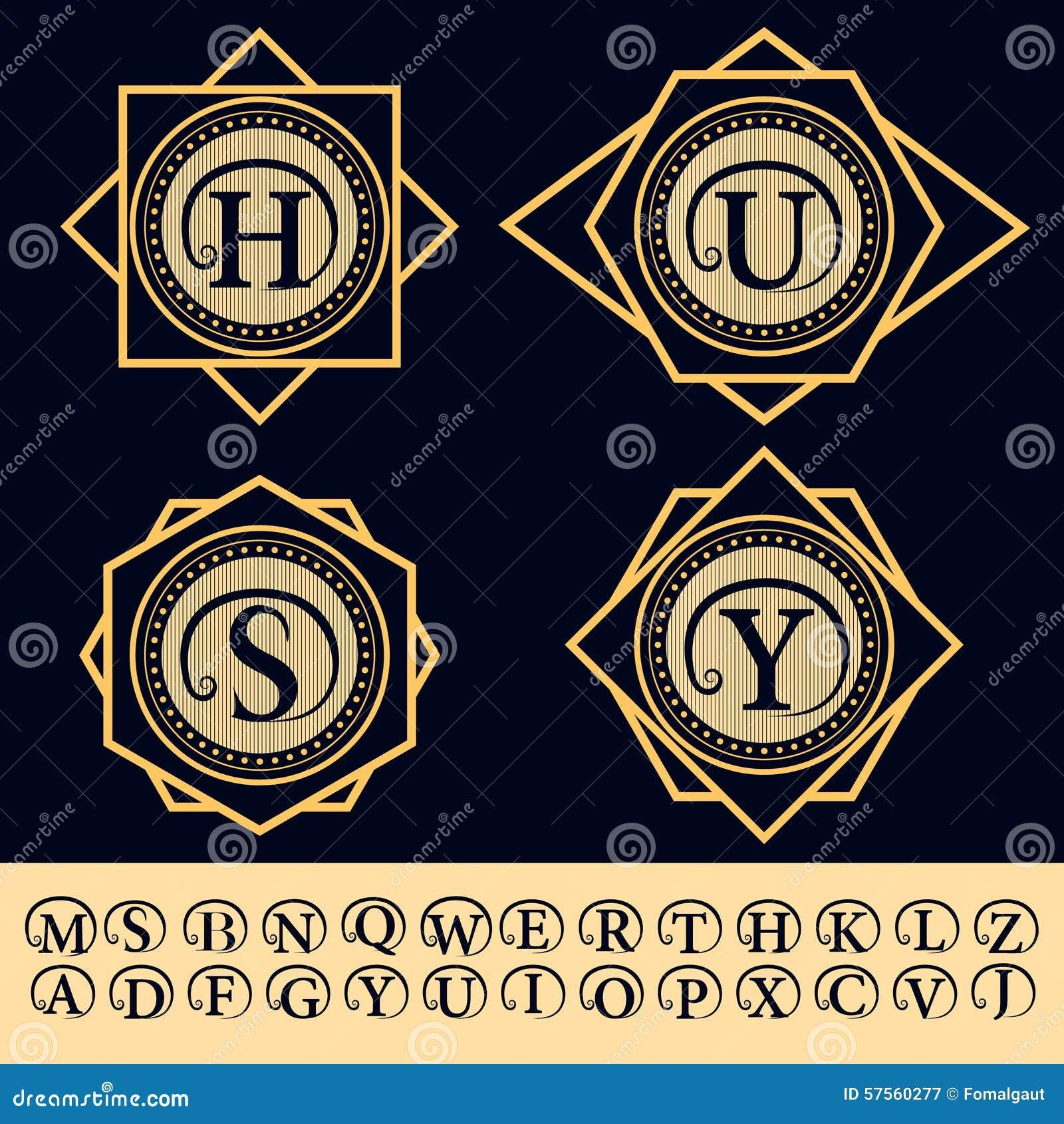 Elementos Do Projeto Do Monograma Emblema Inglês Das Letras Linha