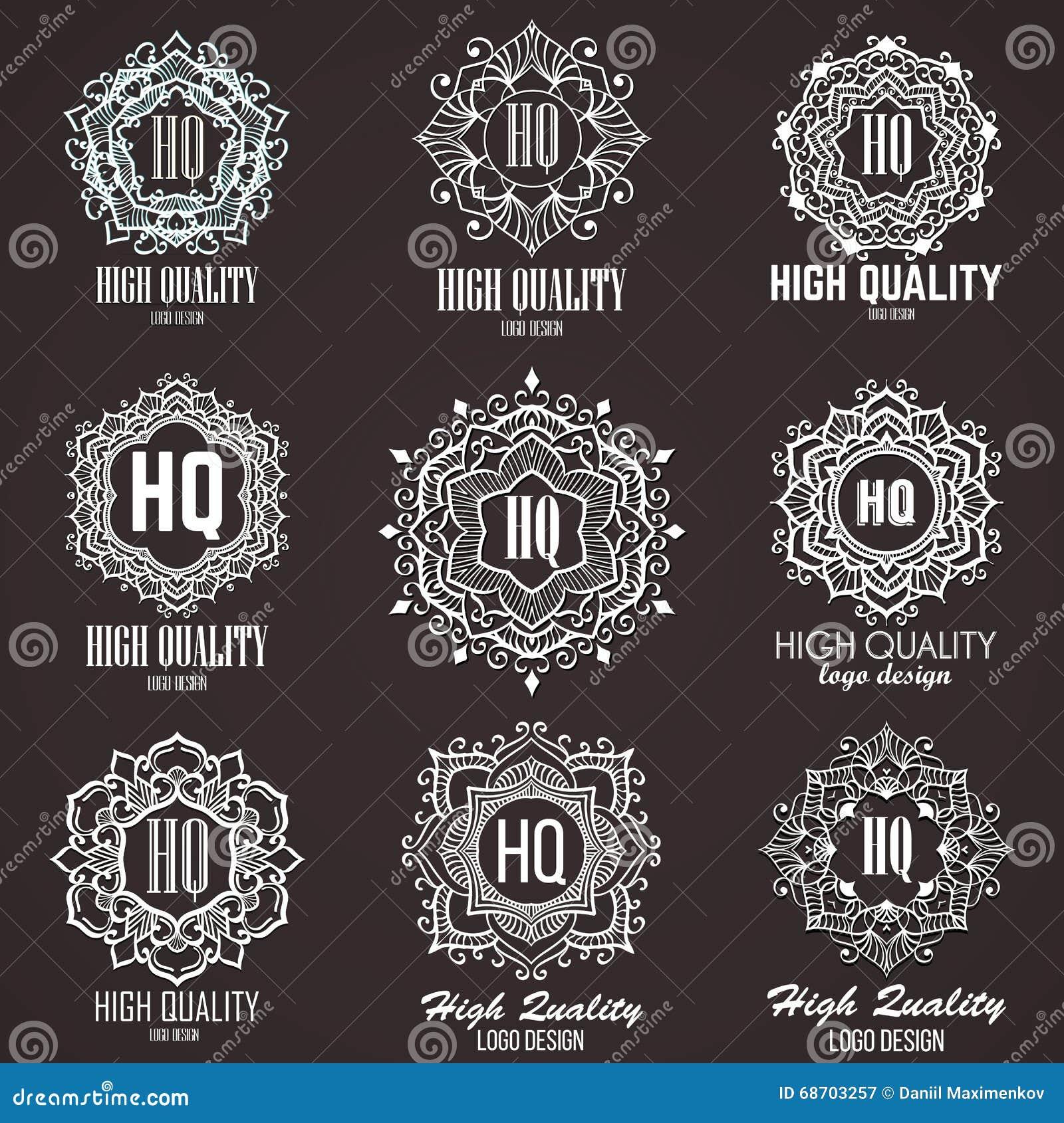 Elementos do projeto do monograma, molde gracioso Linha caligráfica projeto do logotipo da arte