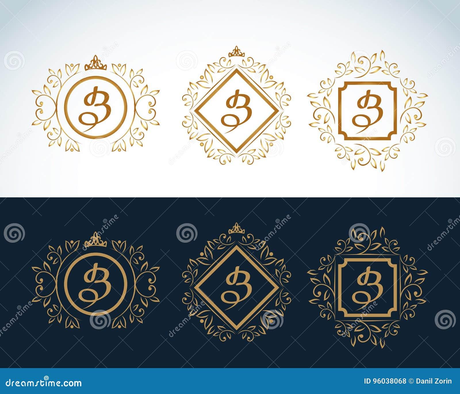 Elementos do projeto do monograma, molde gracioso Linha elegante caligráfica projeto do logotipo da arte Emblema B da letra Forma