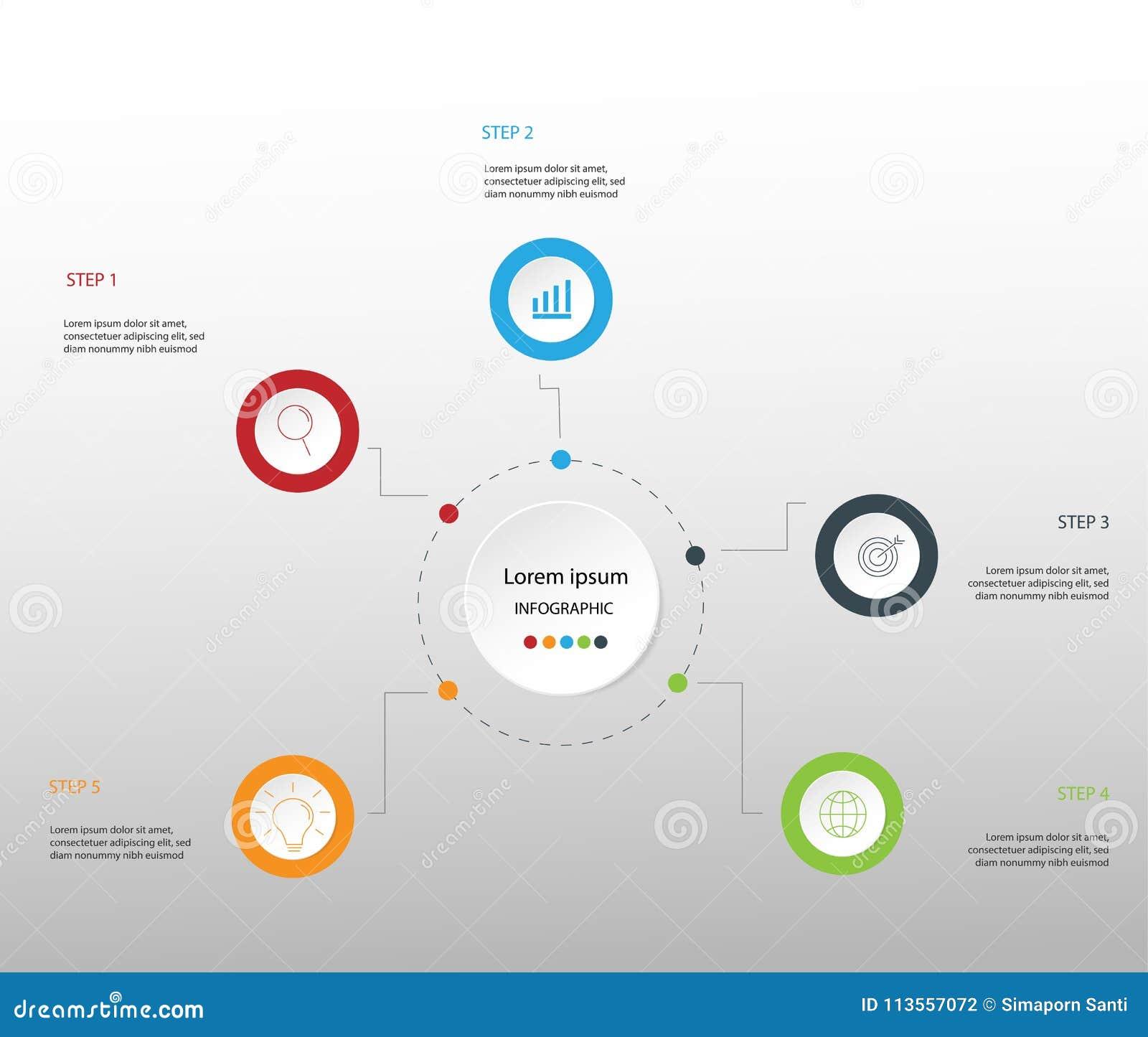 Elementos do projeto moderno para o infographics multicolorido do negócio Vec