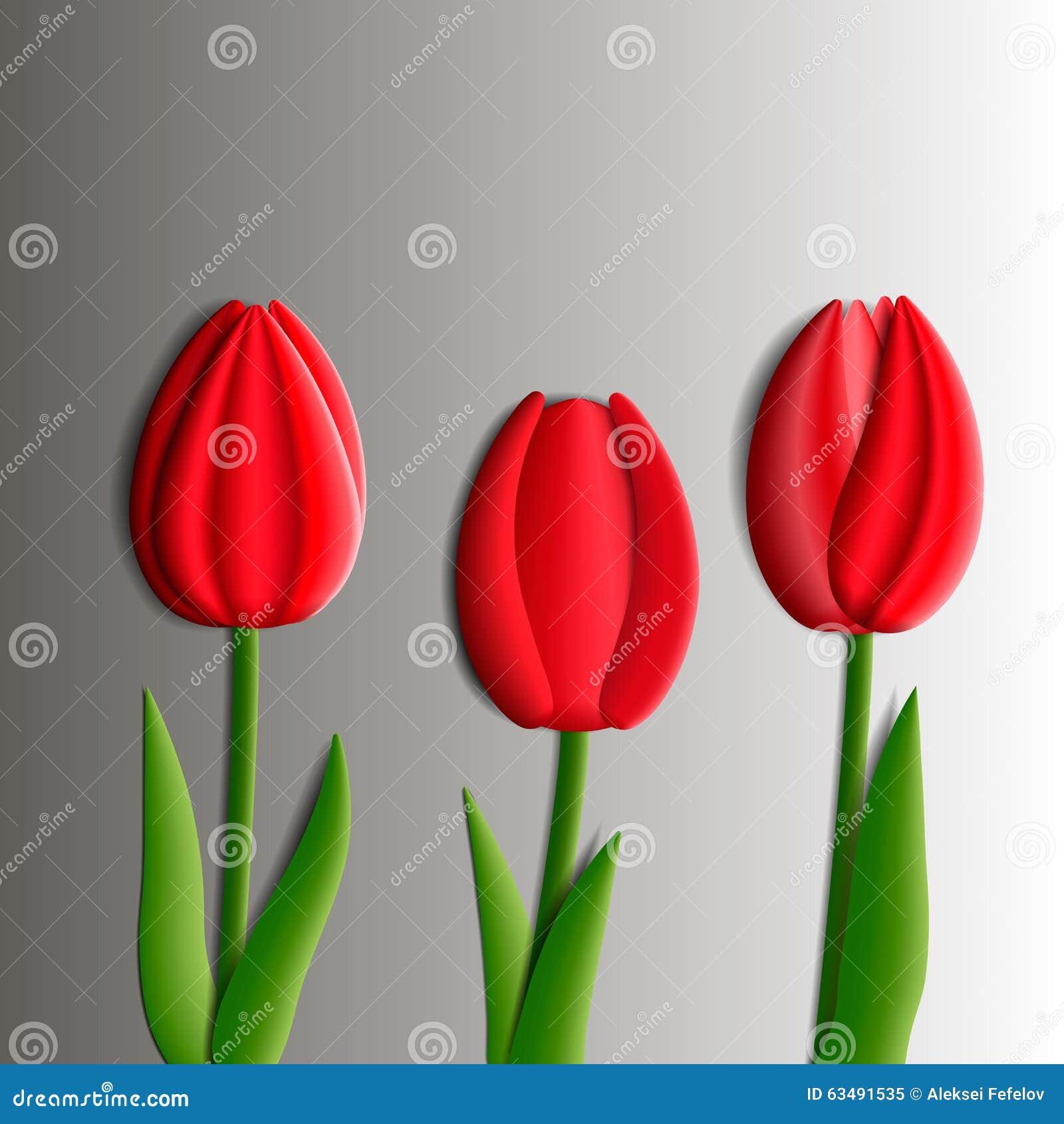 Elementos do projeto - o grupo de tulipas vermelhas floresce 3D