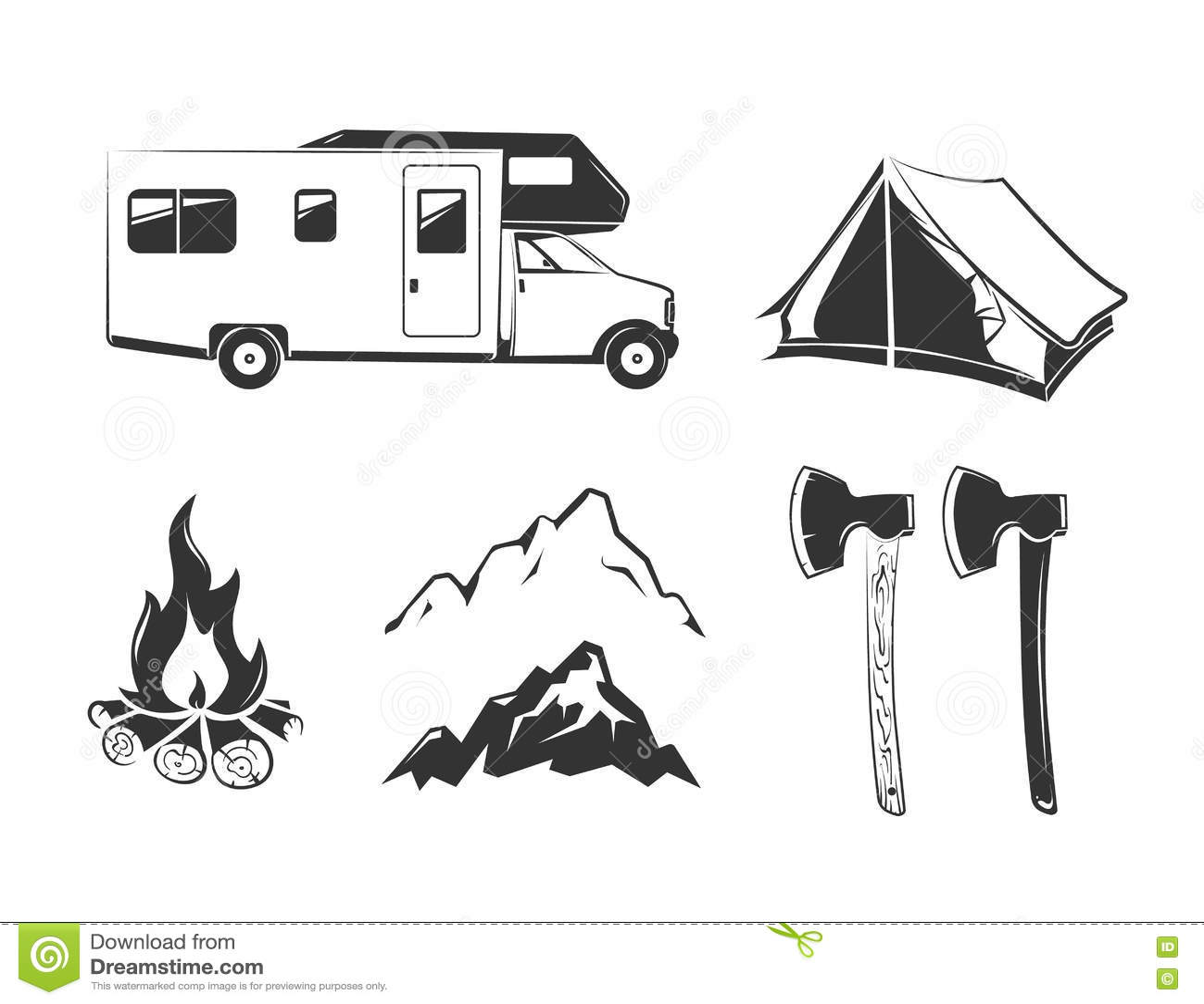 Elementos do vetor para do acampamento de verão etiquetas do vintage fora, emblemas, logotipos, crachás