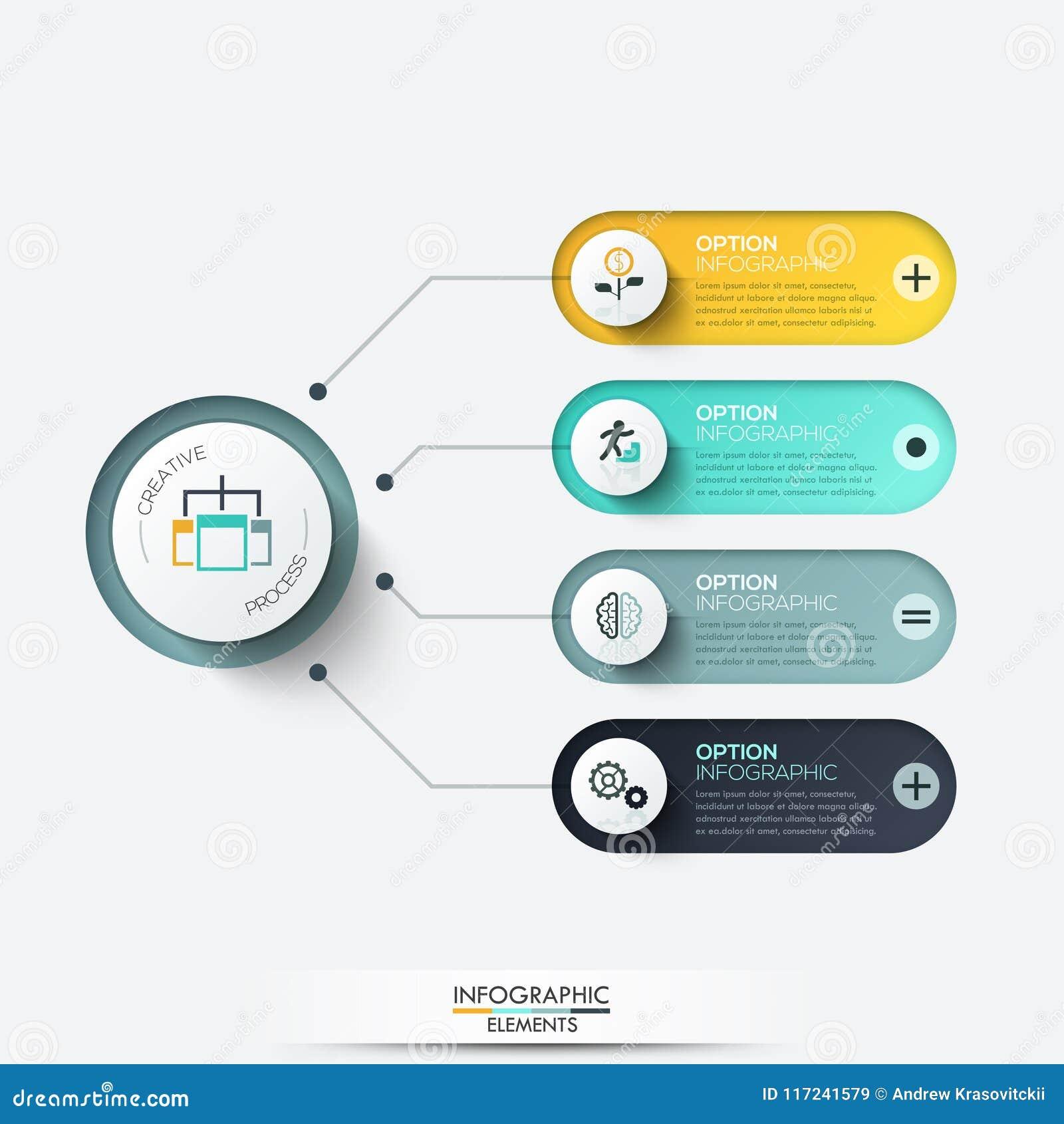 Elementos do vetor para infographic Molde para o diagrama, o gráfico, a apresentação e a carta Conceito do negócio com 4 opções