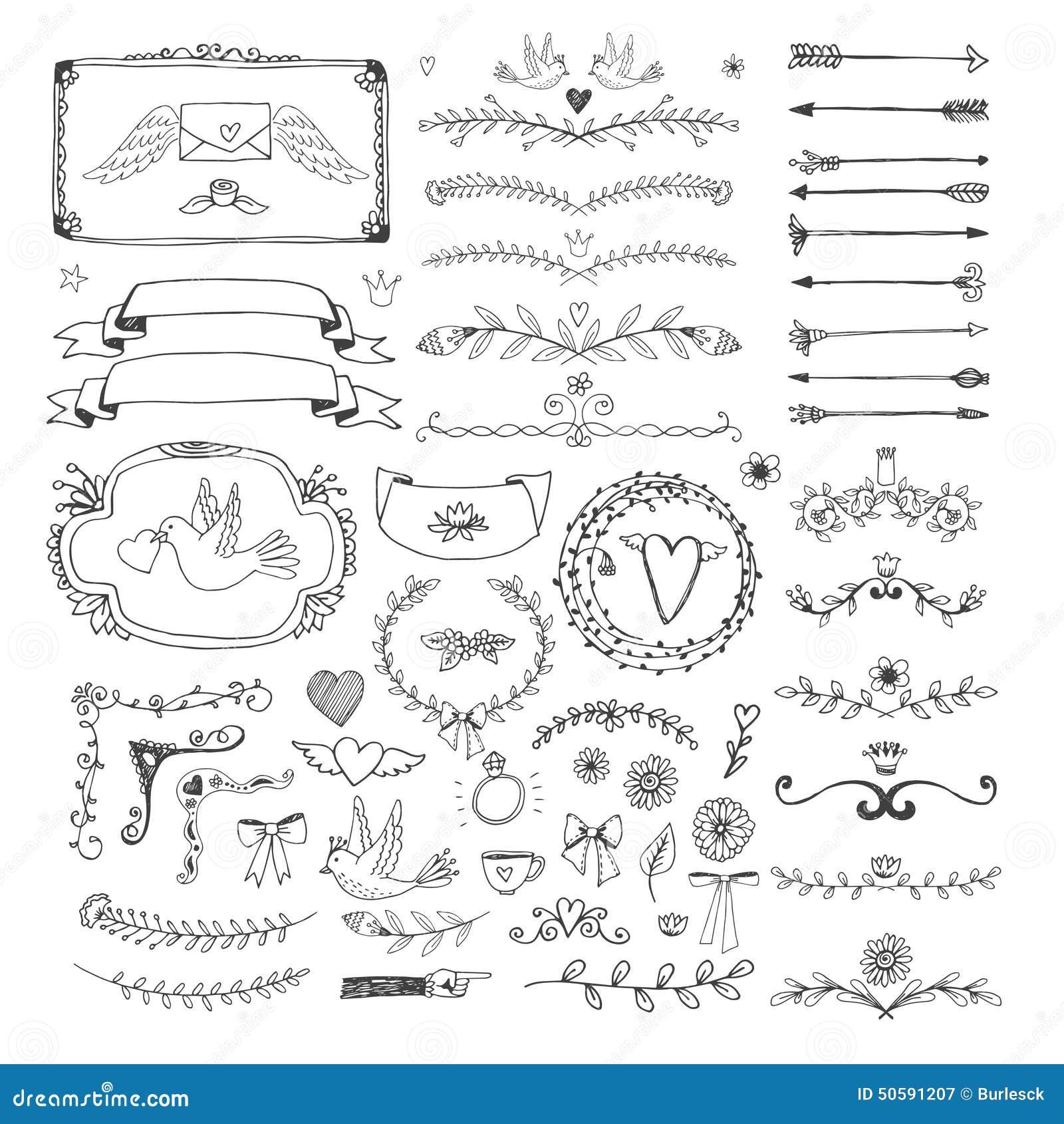 Elementos florales dibujados mano de la página Remolinos, cintas