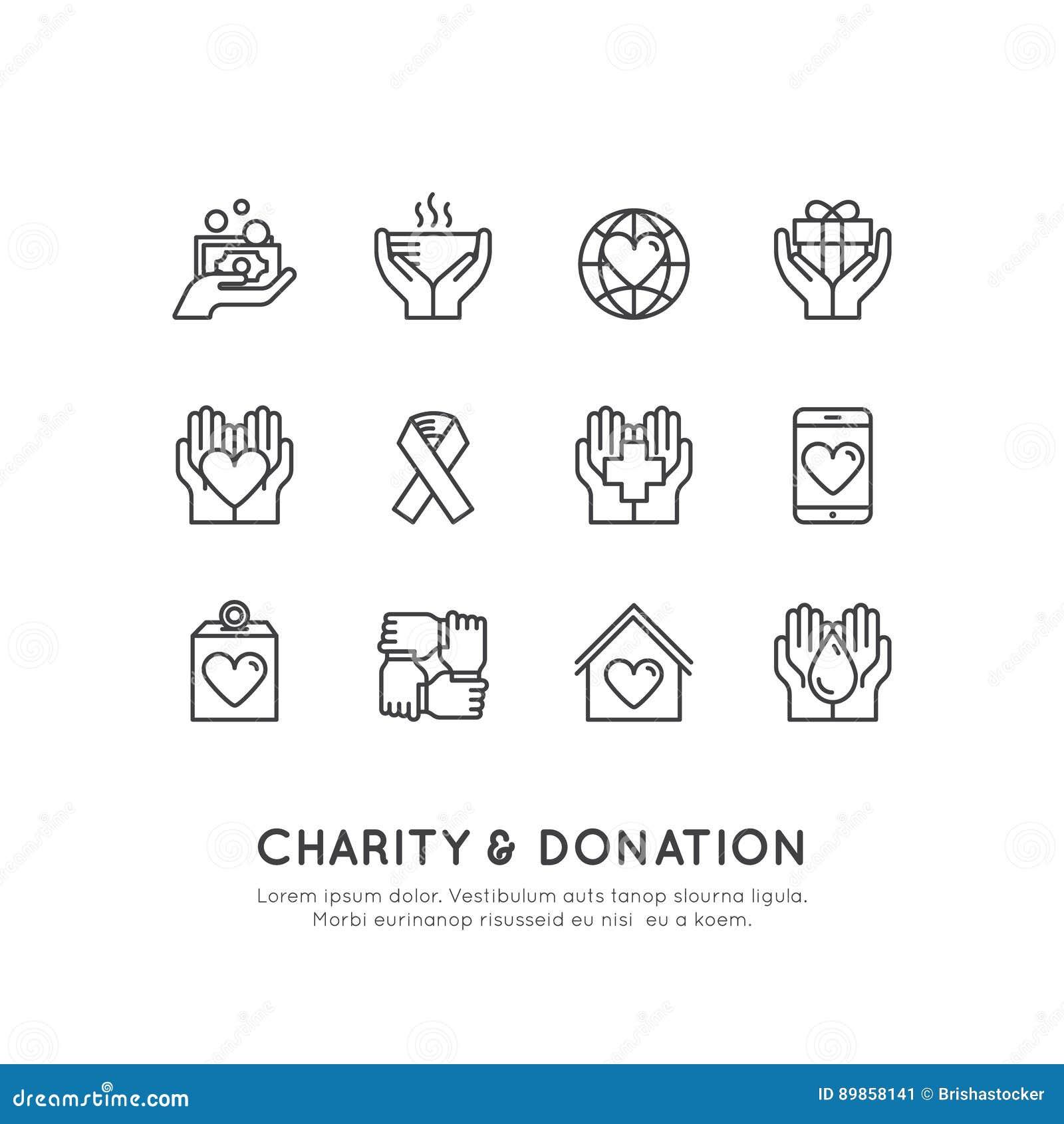 Elementos gráficos para organizações sem fins lucrativos e centro da doação Símbolos Fundraising, etiqueta do projeto de Crowdfun