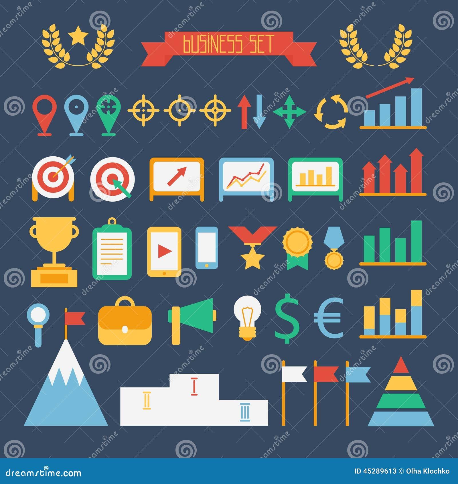 Elementos infographic do projeto do negócio e da finança Grupo de ícones do alvo do vetor Ilustração no estilo liso