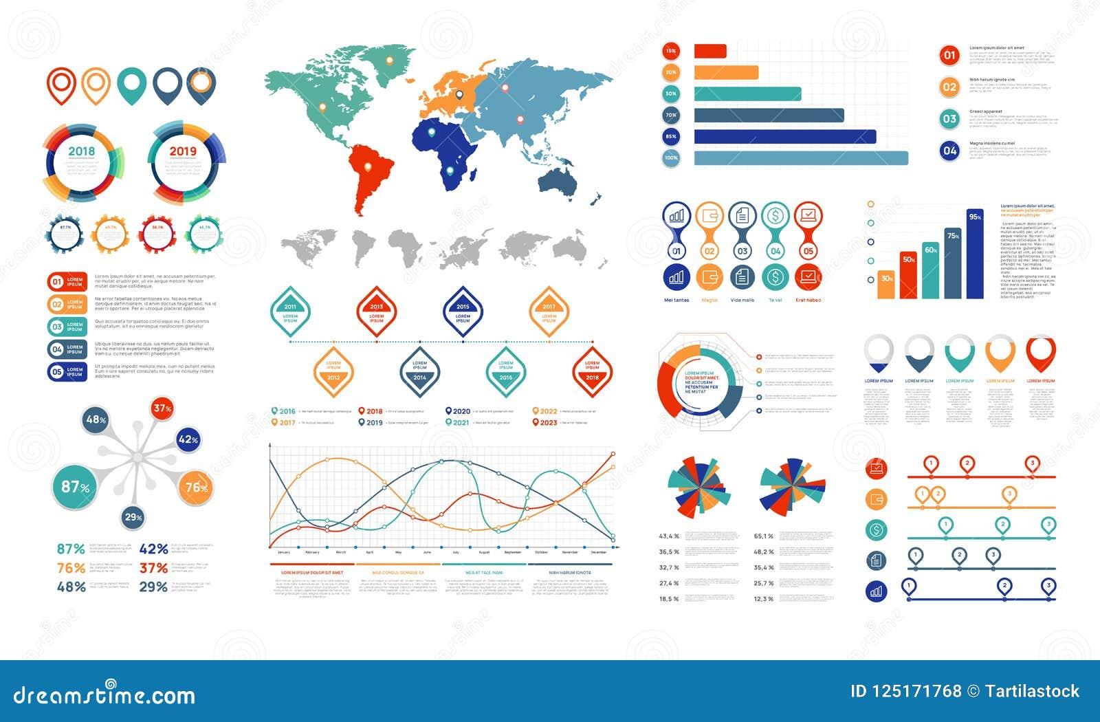 Elementos infographic planos El elemento de la carta de la presentación, el por ciento representa la bandera y el organigrama del