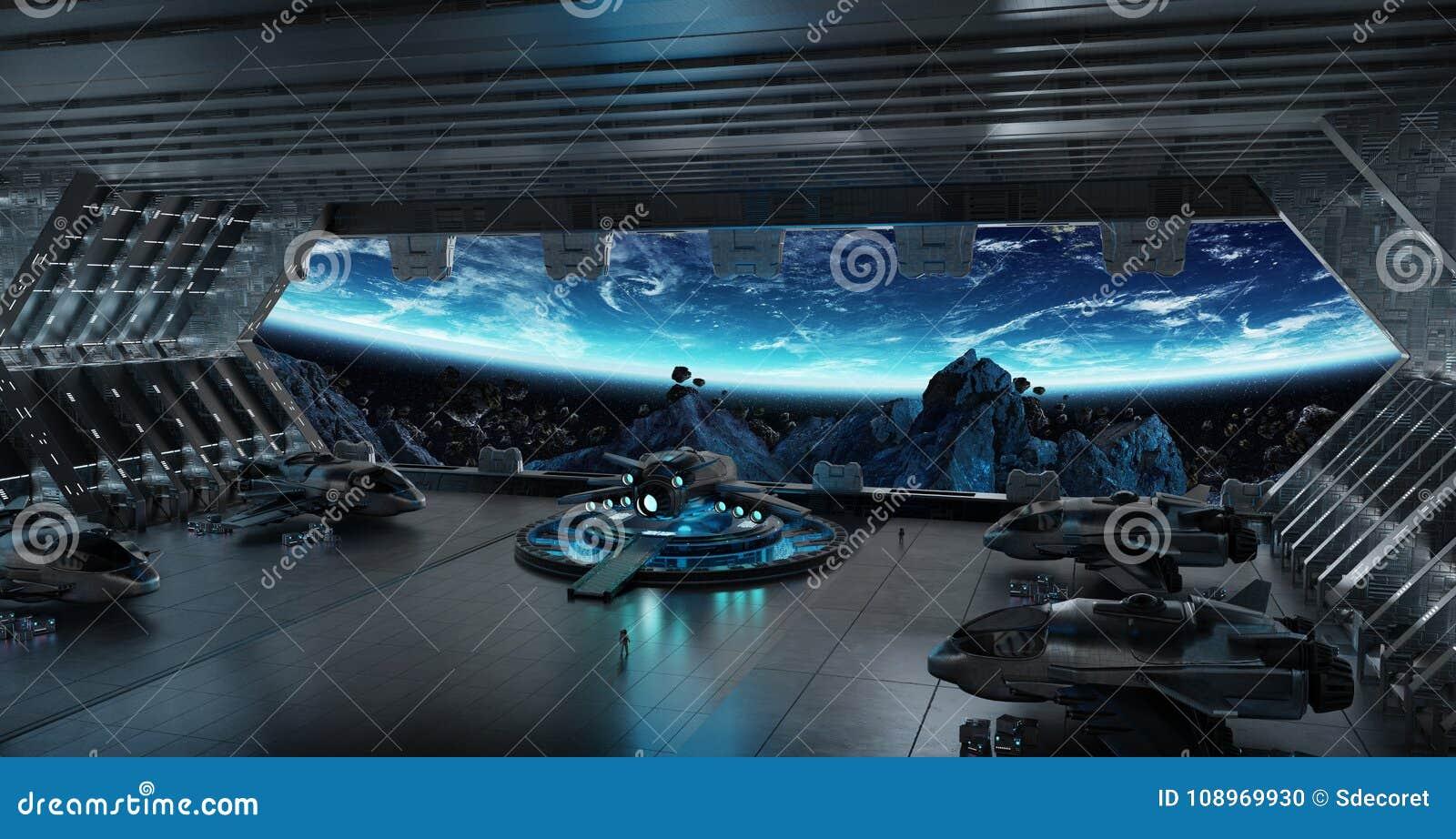 Interior De Ventana De Nave Espacial: Elementos Interiores De La Representación 3D De La Nave