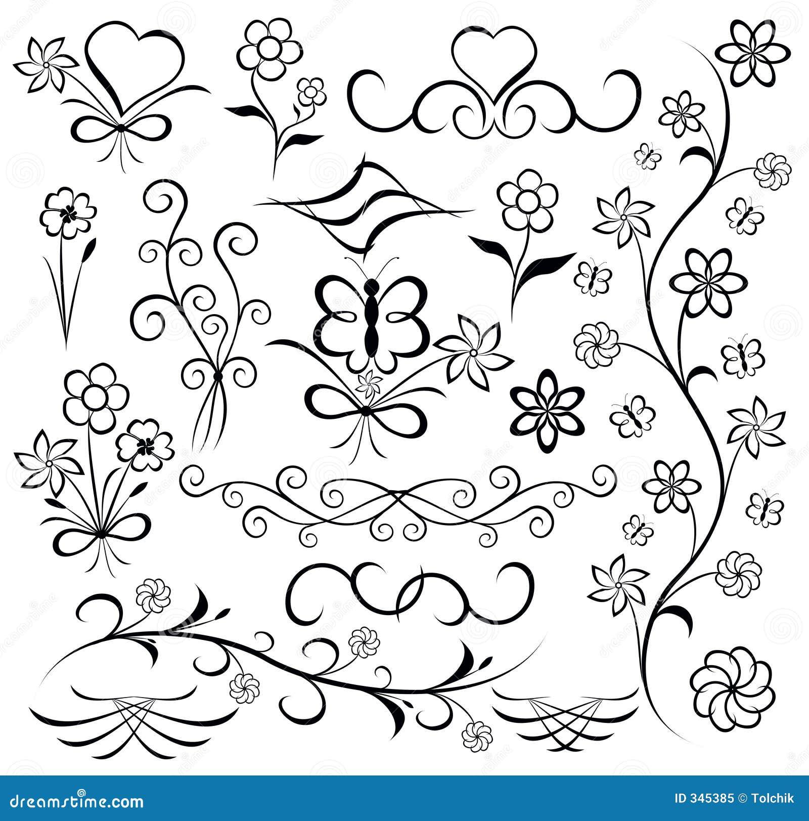Elementos para o projeto (flor, borboleta, coração), vetor
