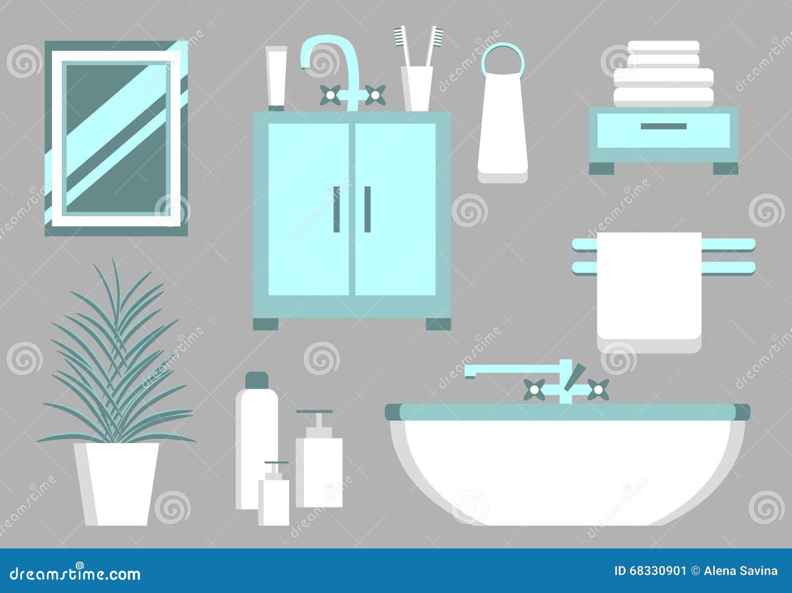 elementos planos del cuarto de ba o ilustraci n del vector