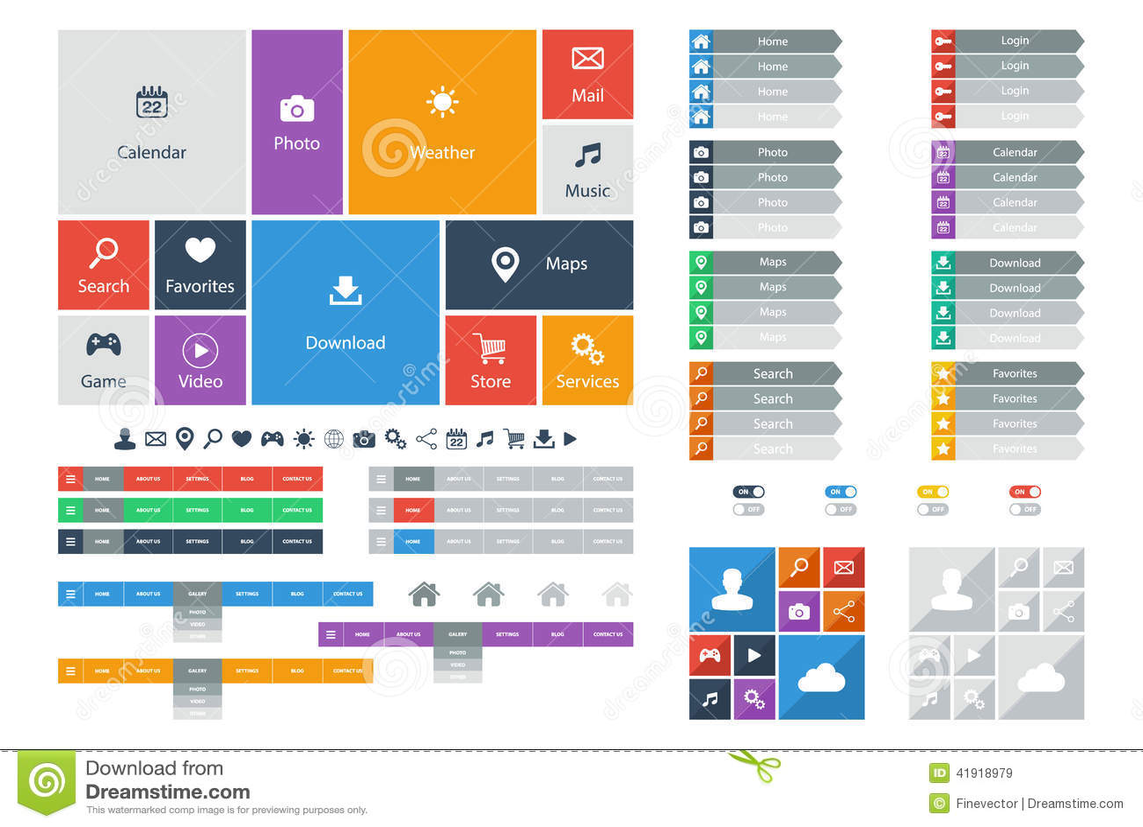 Elementos planos del diseño web, botones, iconos Plantillas para el Web site