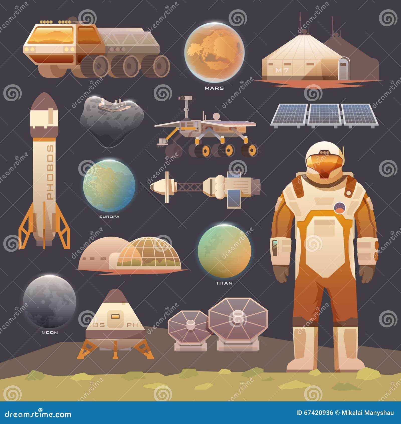 Elementos planos del vector Exploración espacial